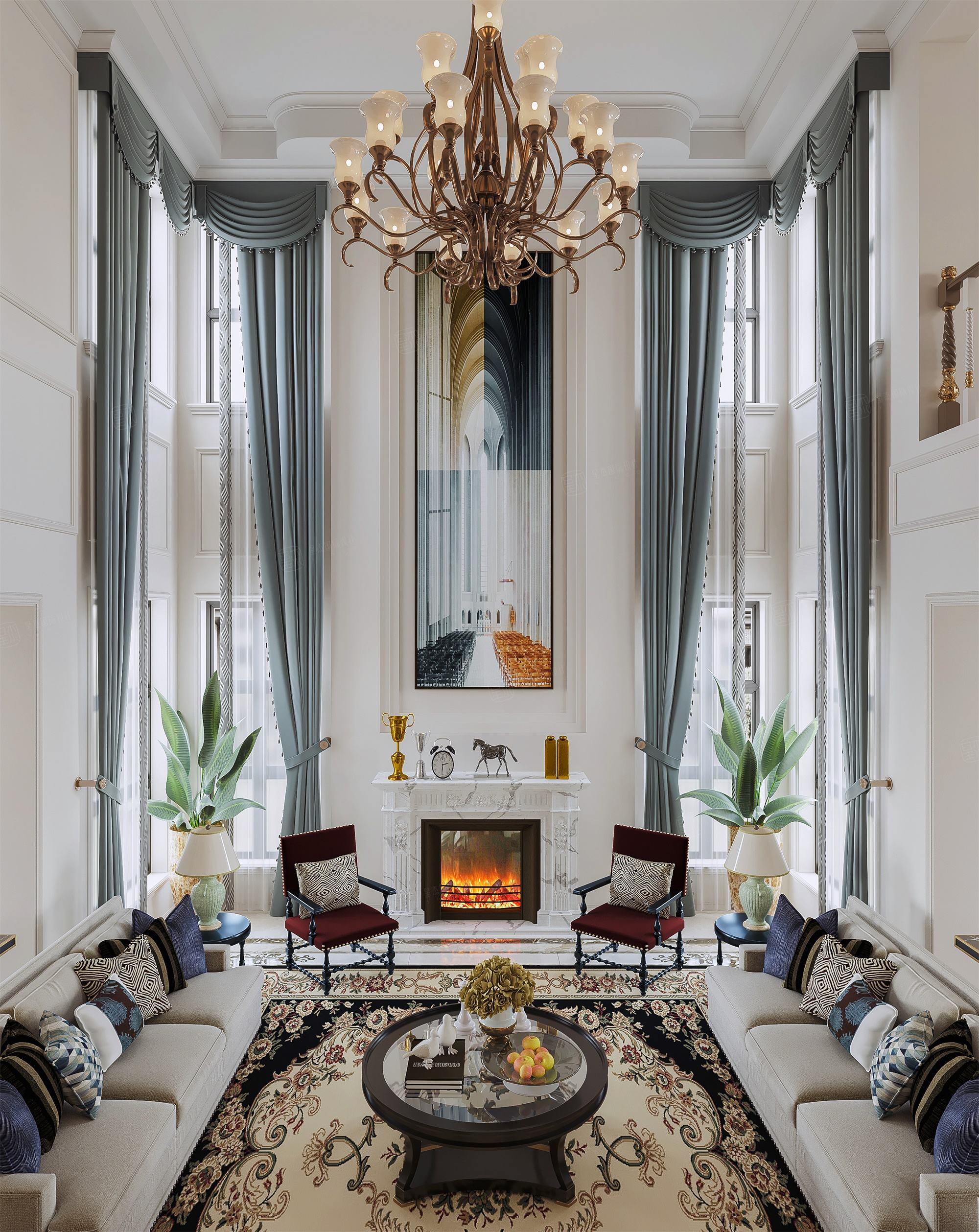 月光流域   新美式装修客厅效果图