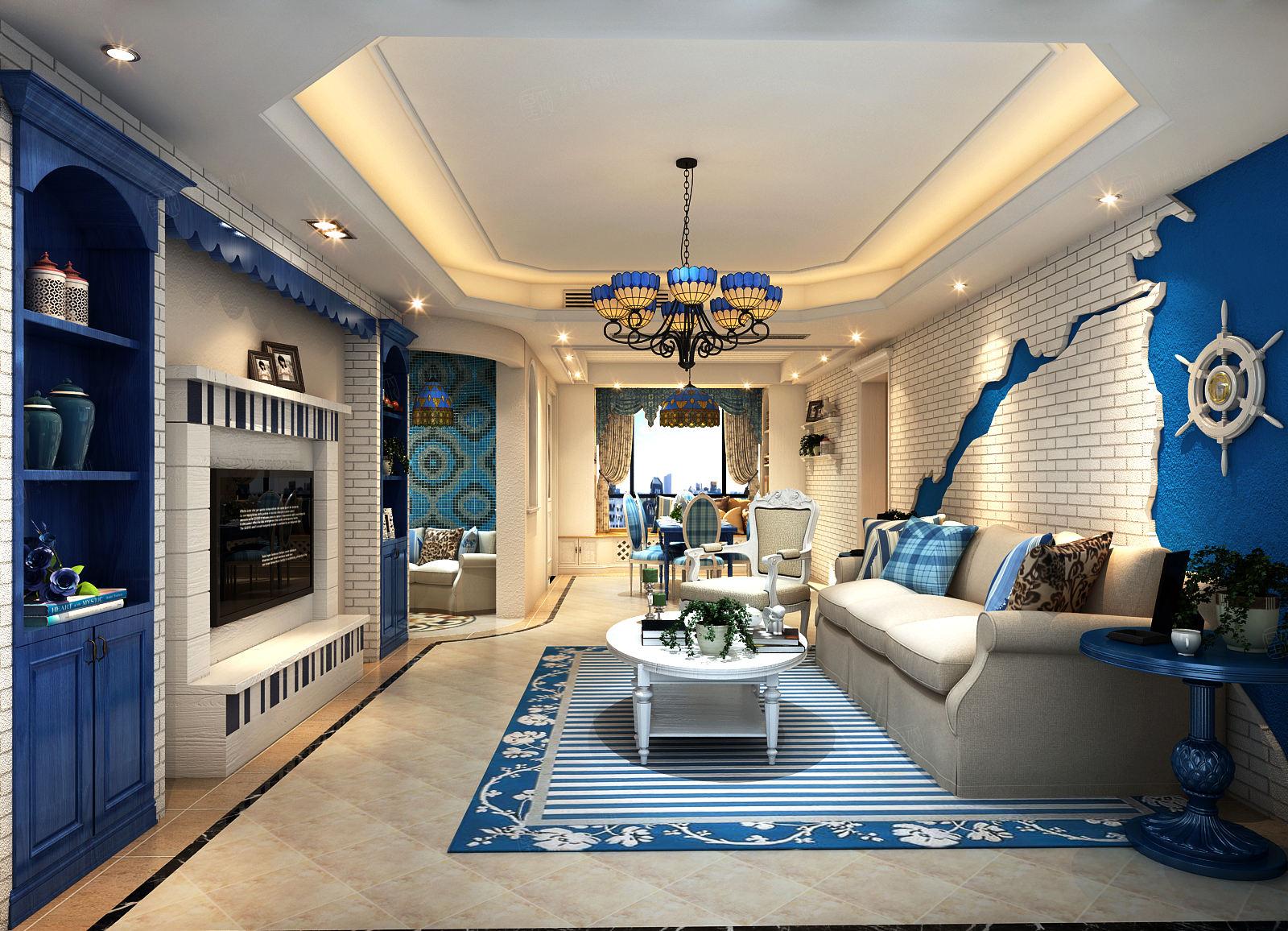 上海滩花园 地中海装修客厅效果图