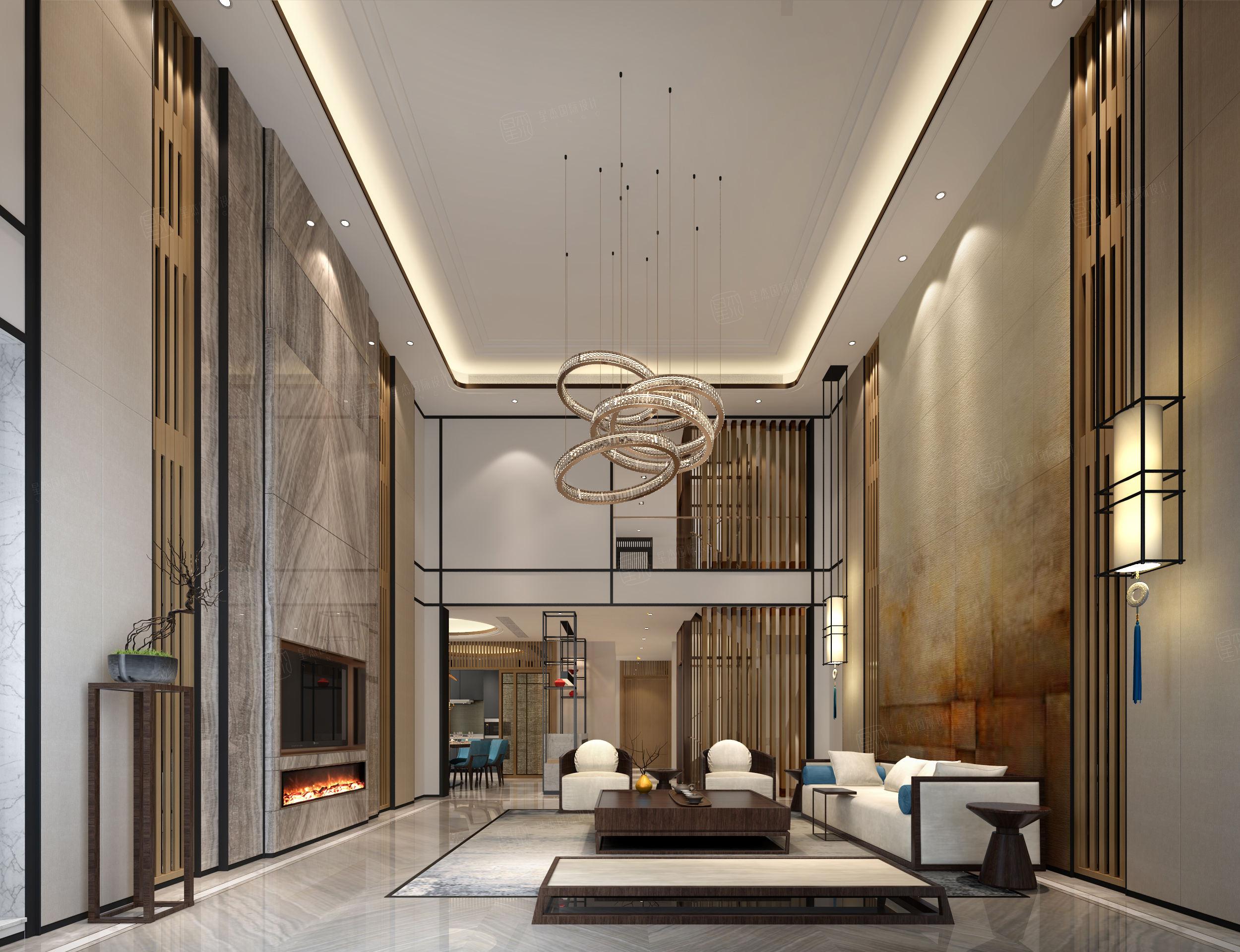 安亭瑞仕华庭 新中式装修客厅效果图