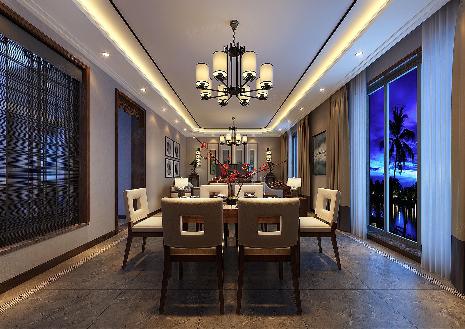 朗诗绿岛 现代中式装修餐厅效果图