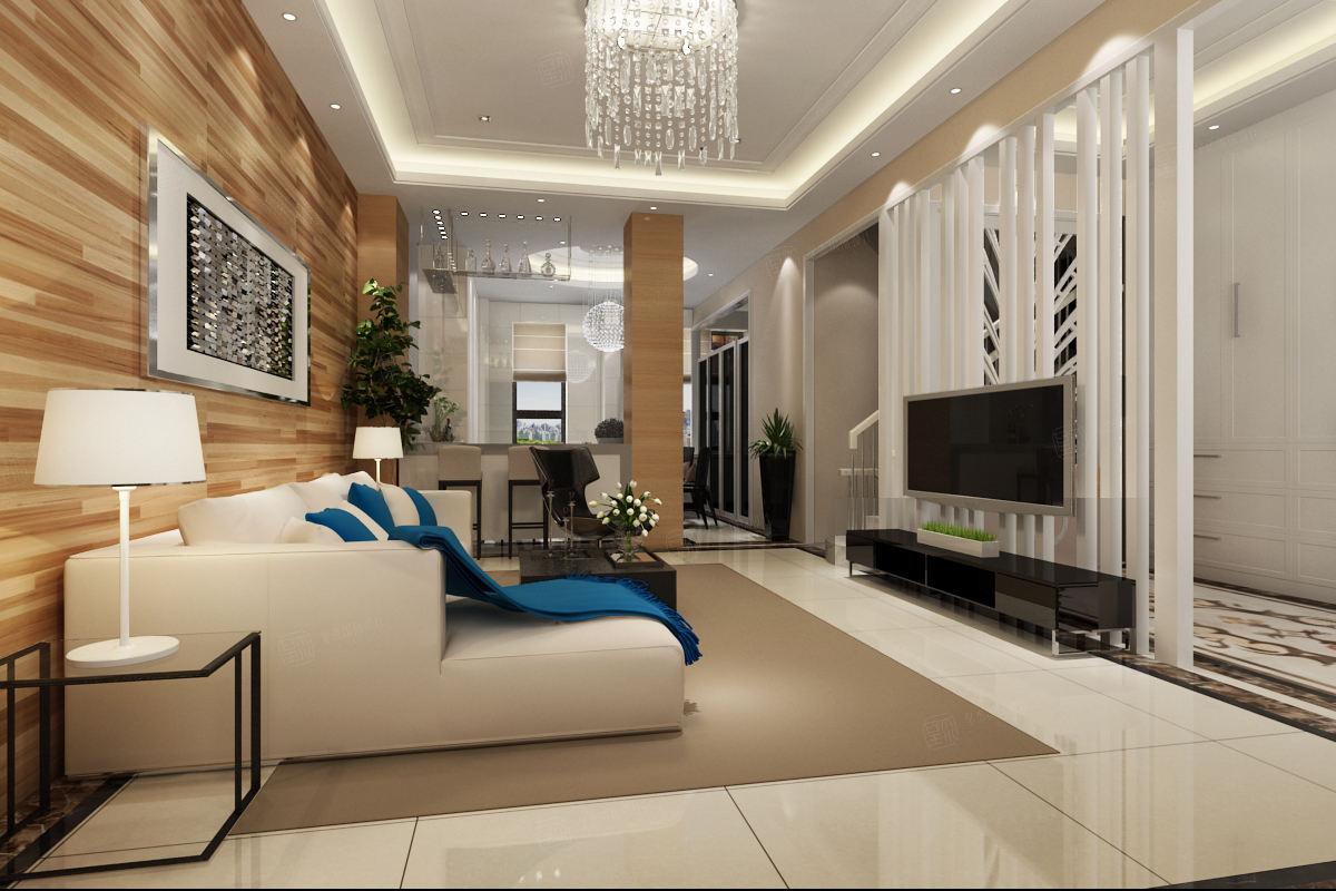 中海悦府 现代简约装修客厅效果图