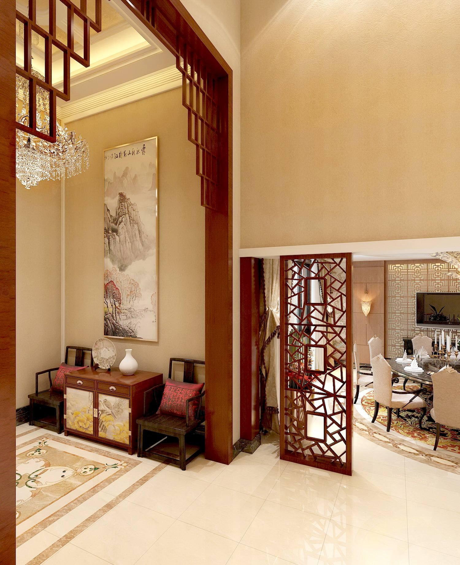 御翠园 中式装修门厅效果图