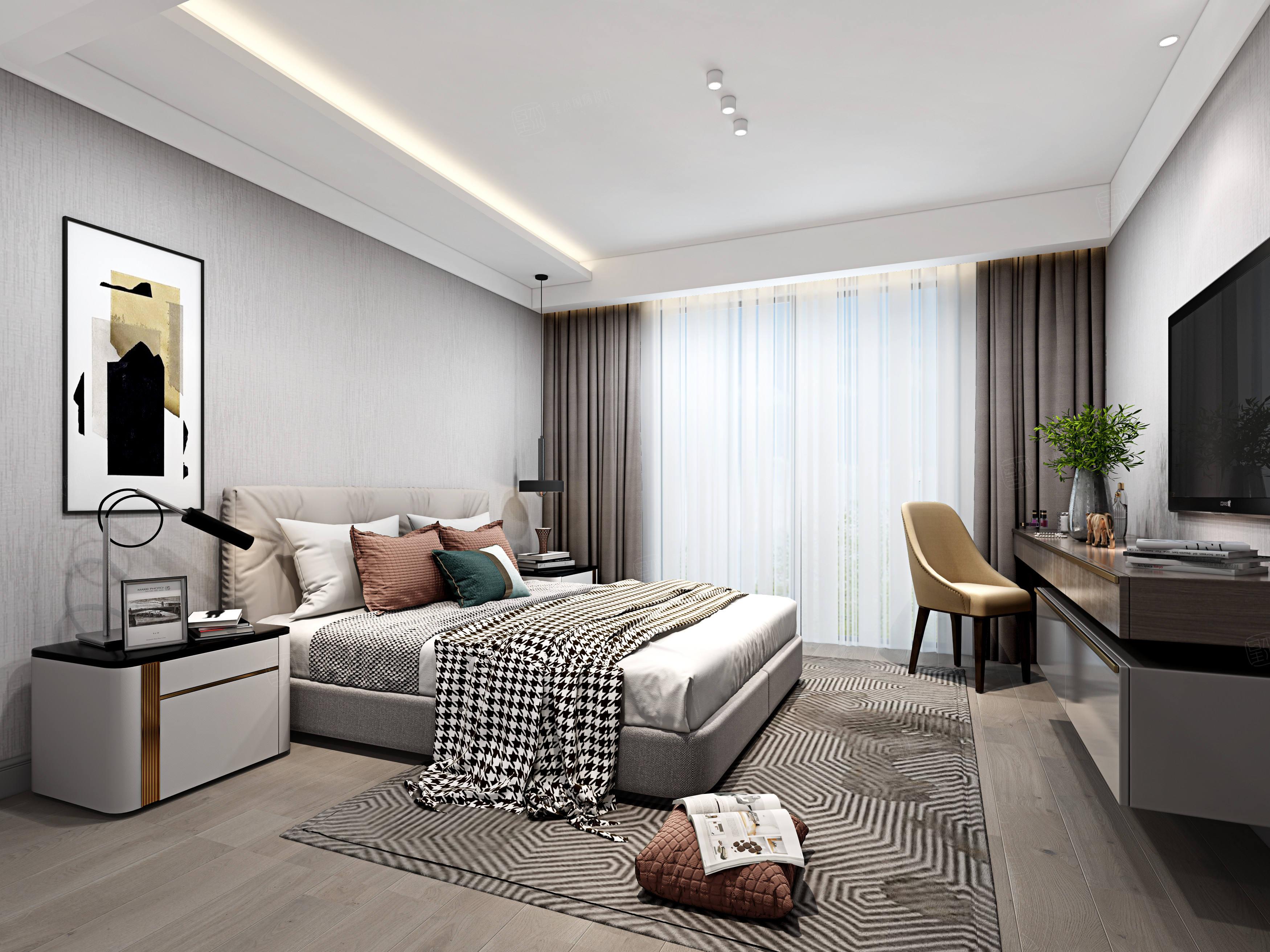 水清木华   现代装修卧室效果图