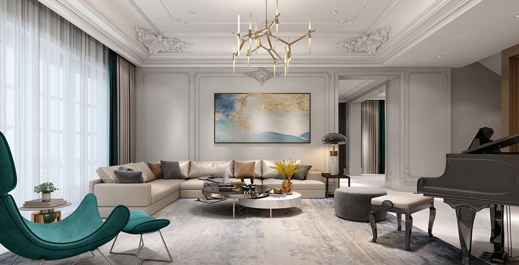 世纪珑墅   法式轻奢装修客厅效果图