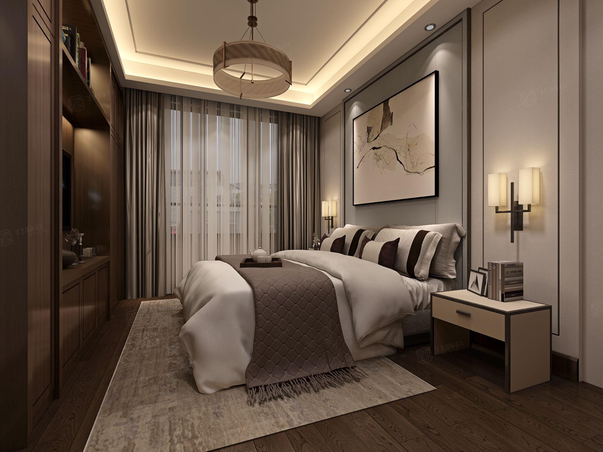 上海滩花园 新中式装修卧室效果图