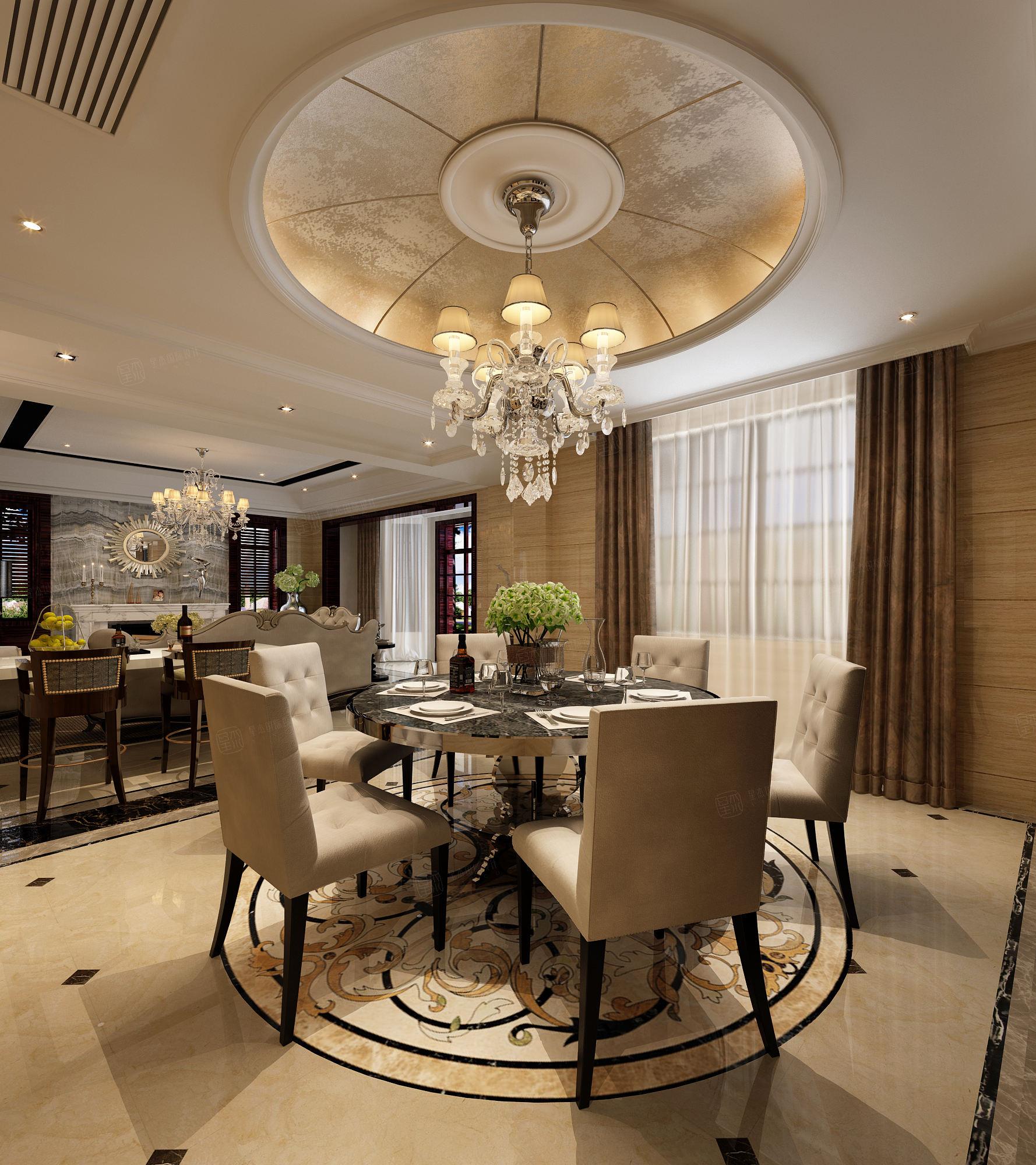 中金海棠湾 新古典风格装修餐厅效果图