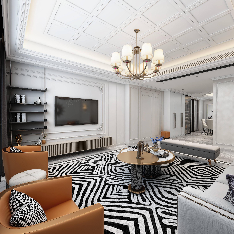 尚海郦景    美式 装修客厅效果图