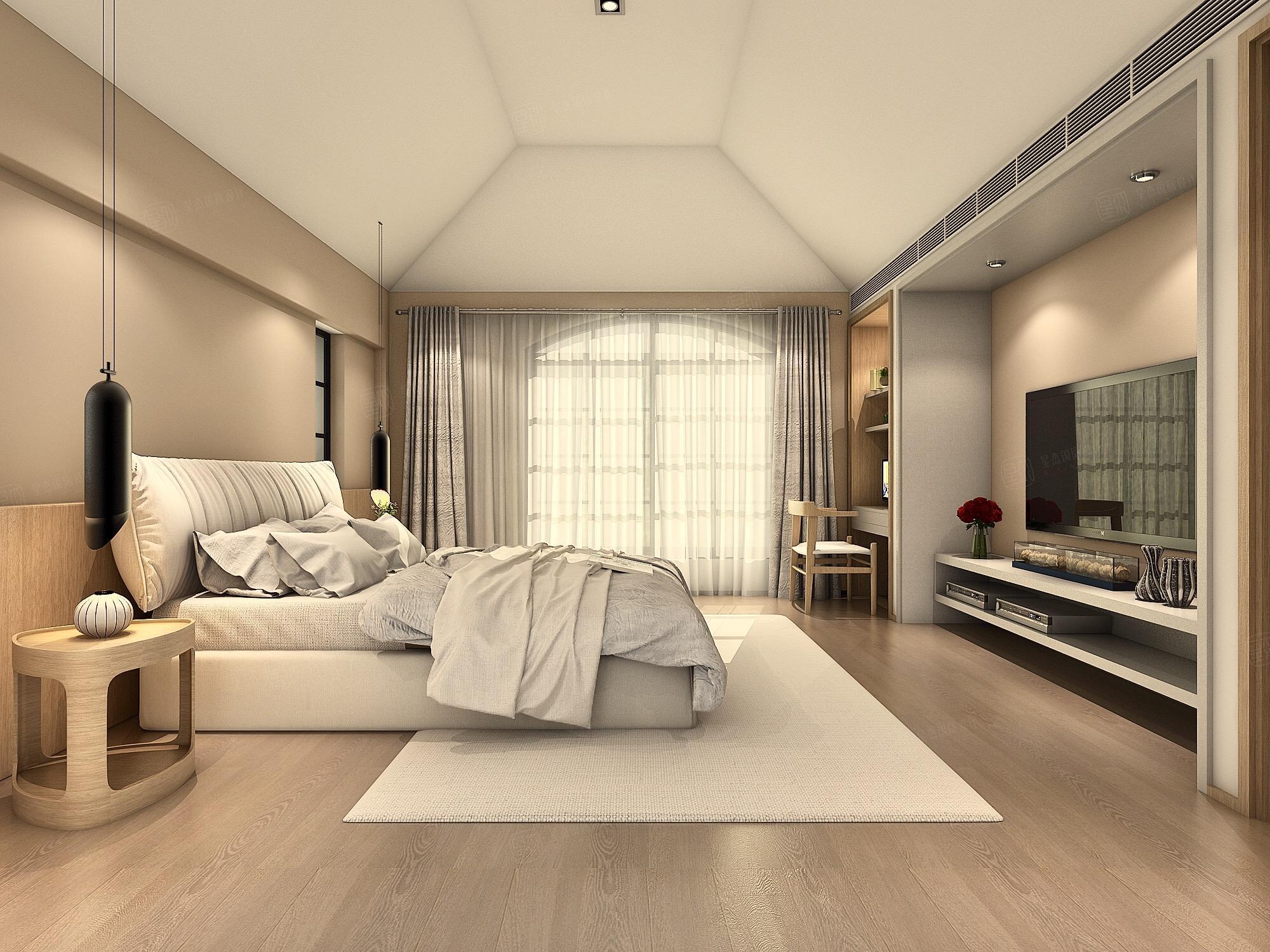 中金海棠湾 韩式现代简约装修卧室效果图