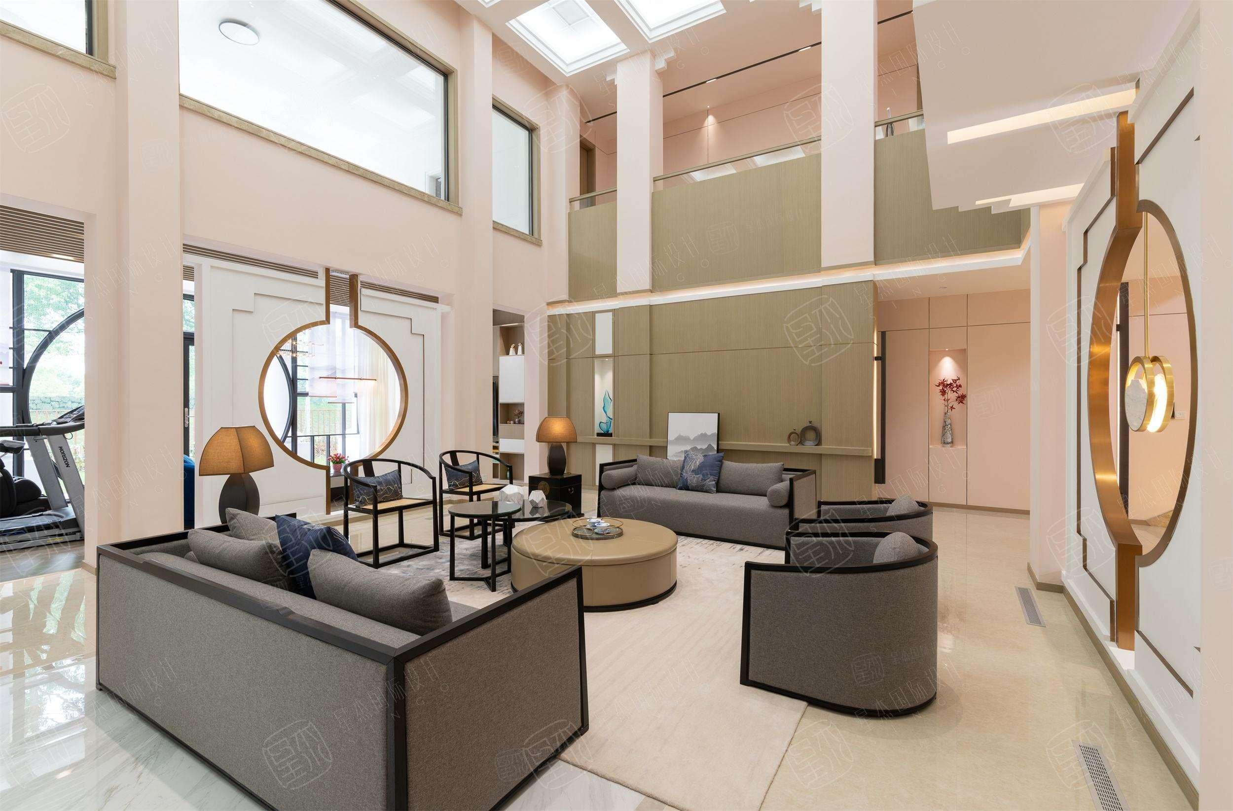 实景 汤臣高尔夫  新中式装修客厅效果图