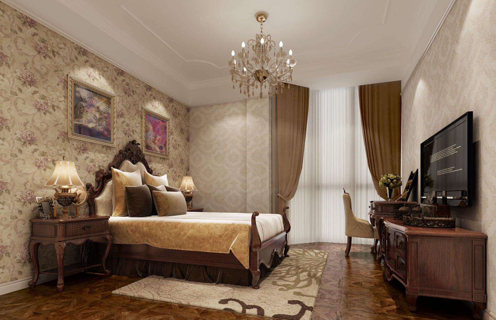 绿宝园 美式装修卧室效果图