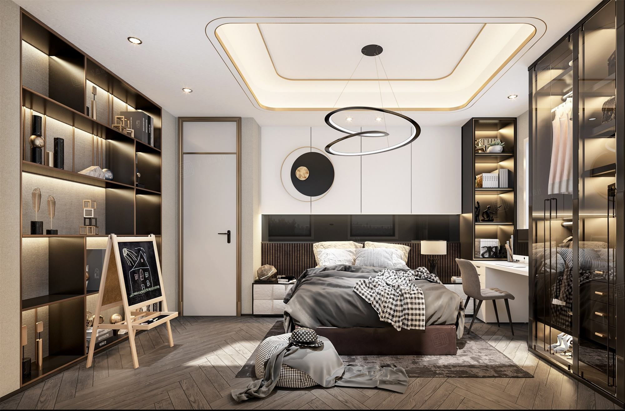 浦开世纪珑墅  现代轻奢装修卧室效果图