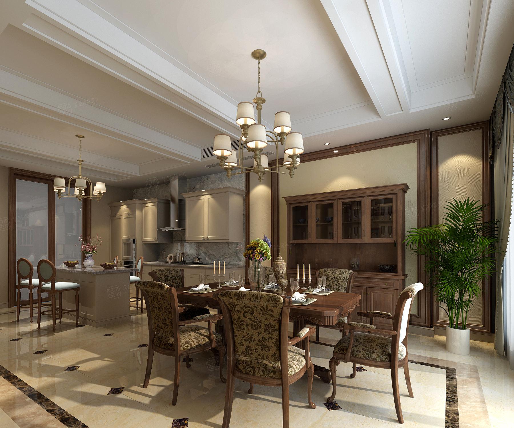 大华诺斐墅 新古典装修餐厅效果图
