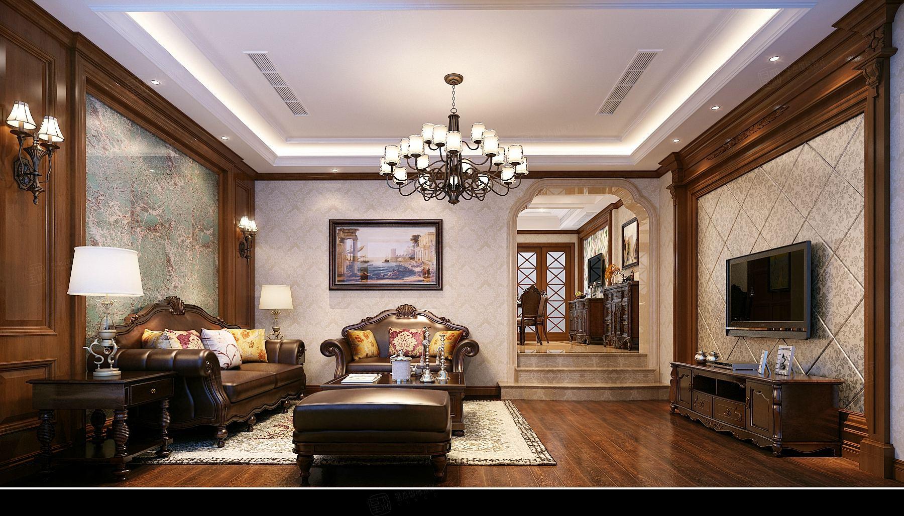 私人别墅 美式装修客厅效果图