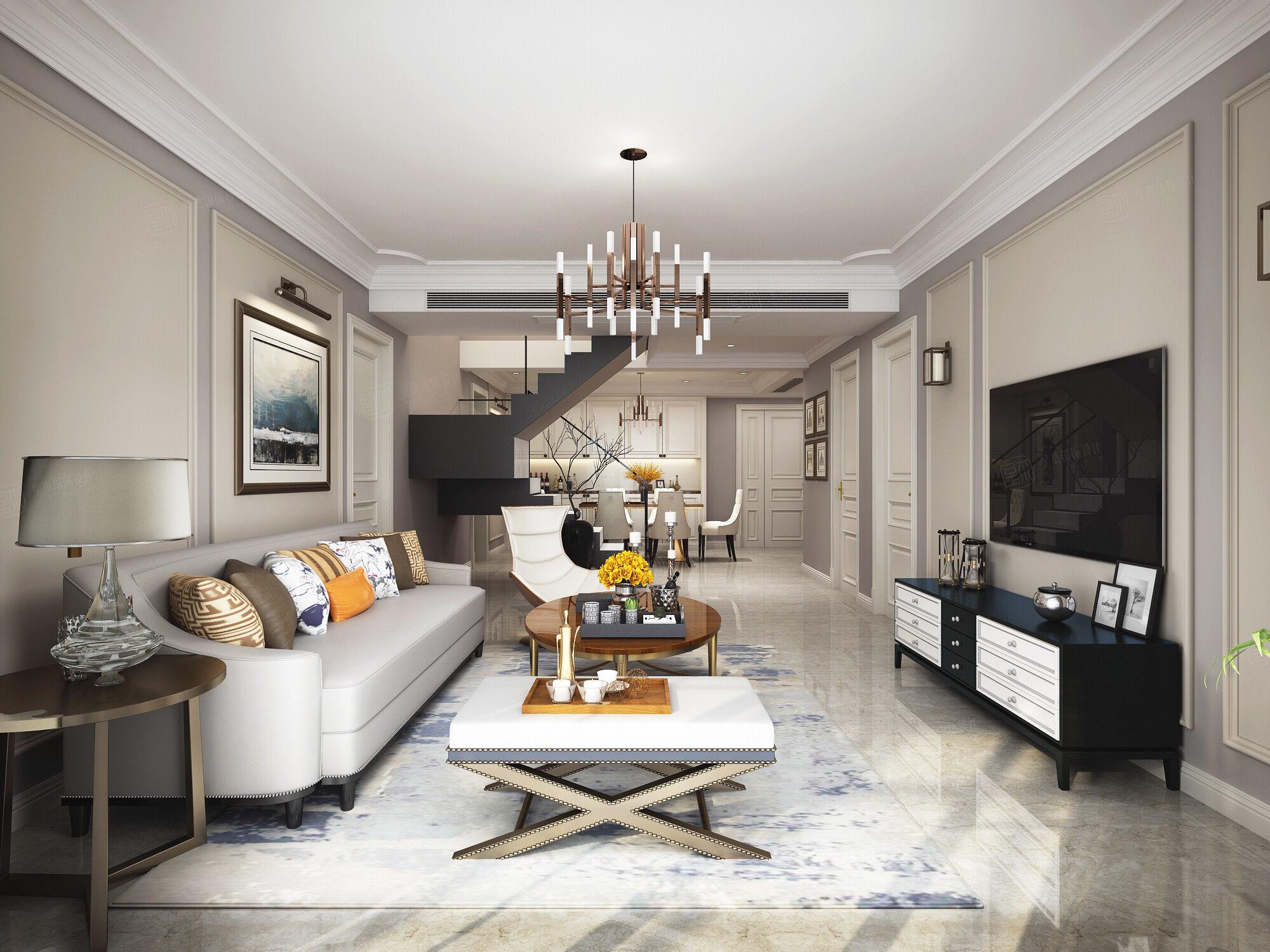 华都公寓 美式装修客厅效果图