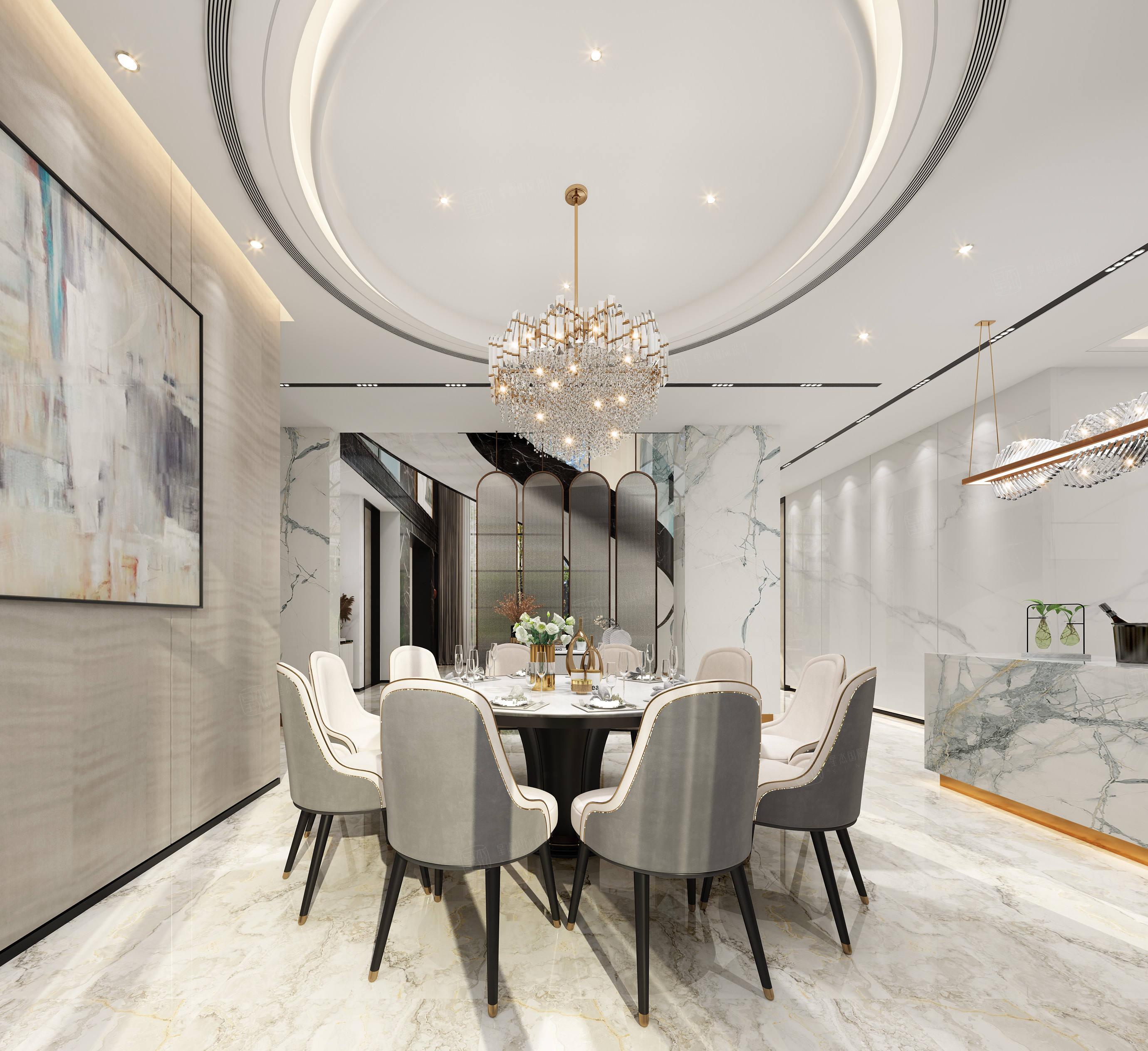 万科翡翠 现代装修餐厅效果图