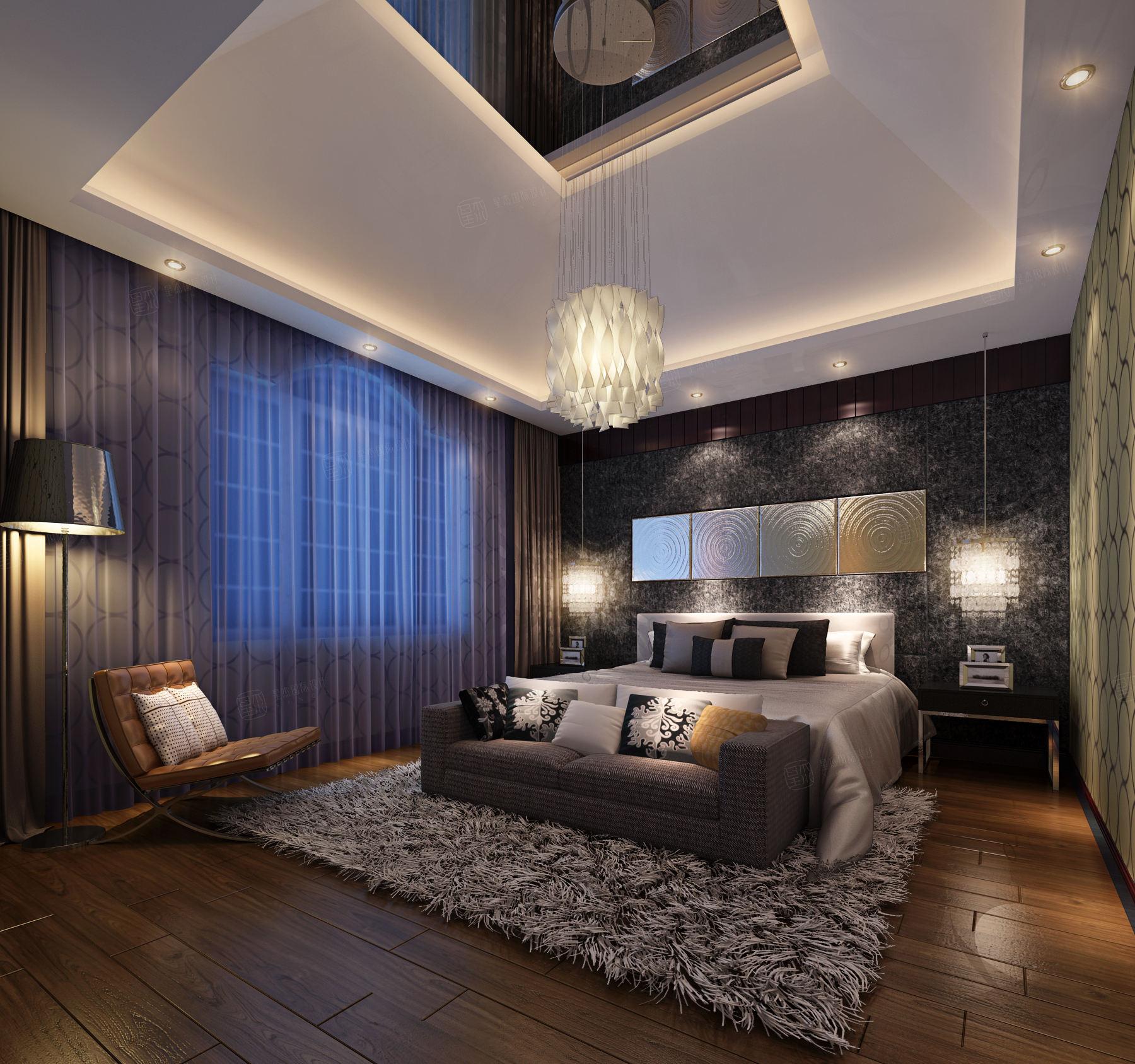 东郊紫园 新中式装修卧室效果图