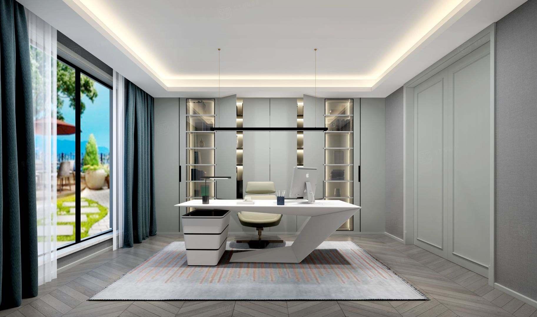 东郊罗兰  现代轻奢装修书房效果图