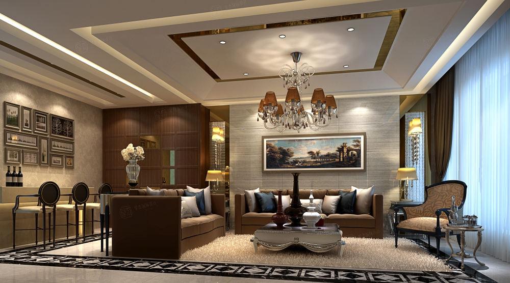 金鸡湖一号_高标准生活模式装修客厅效果图