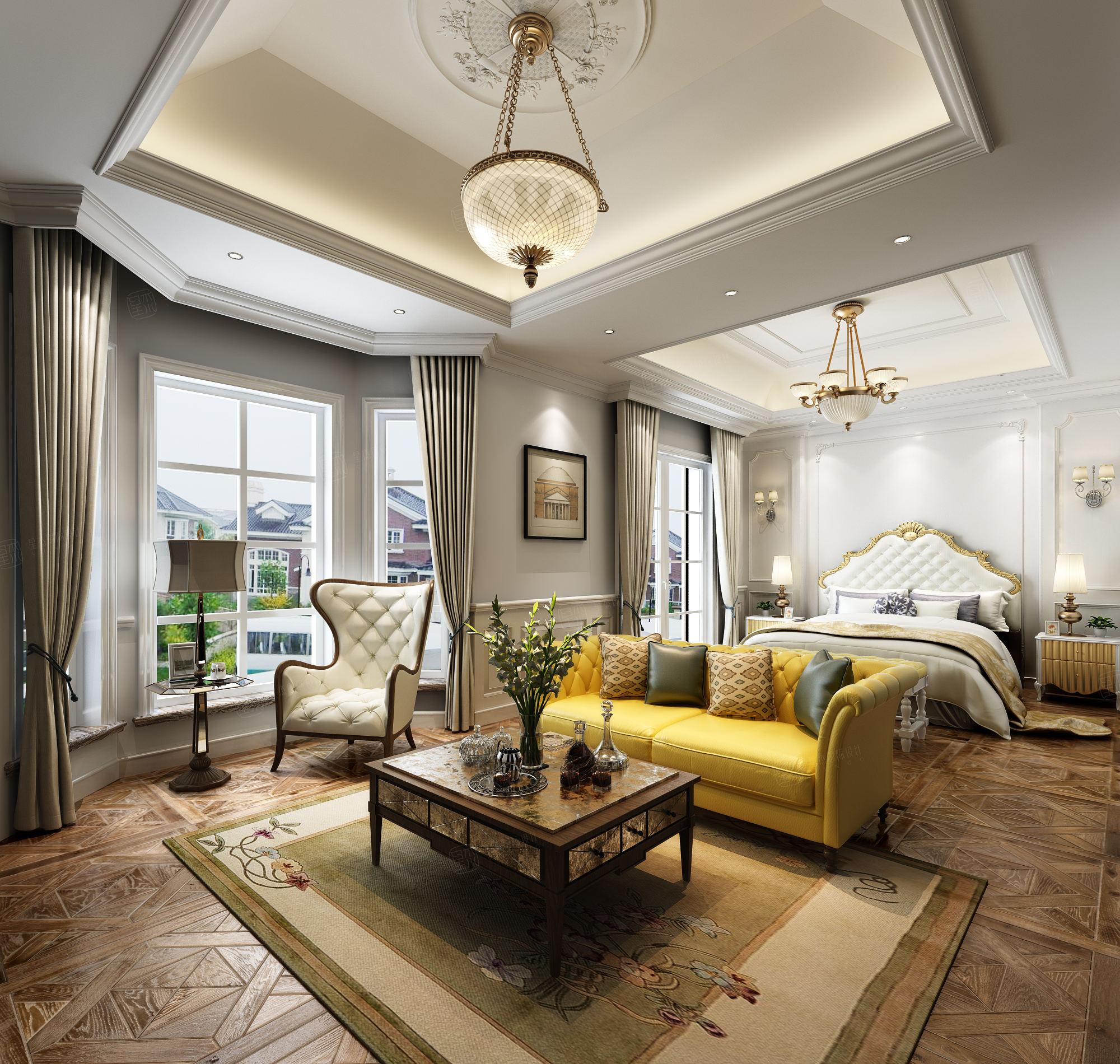 罗山绿洲别墅 美式装修起居室效果图