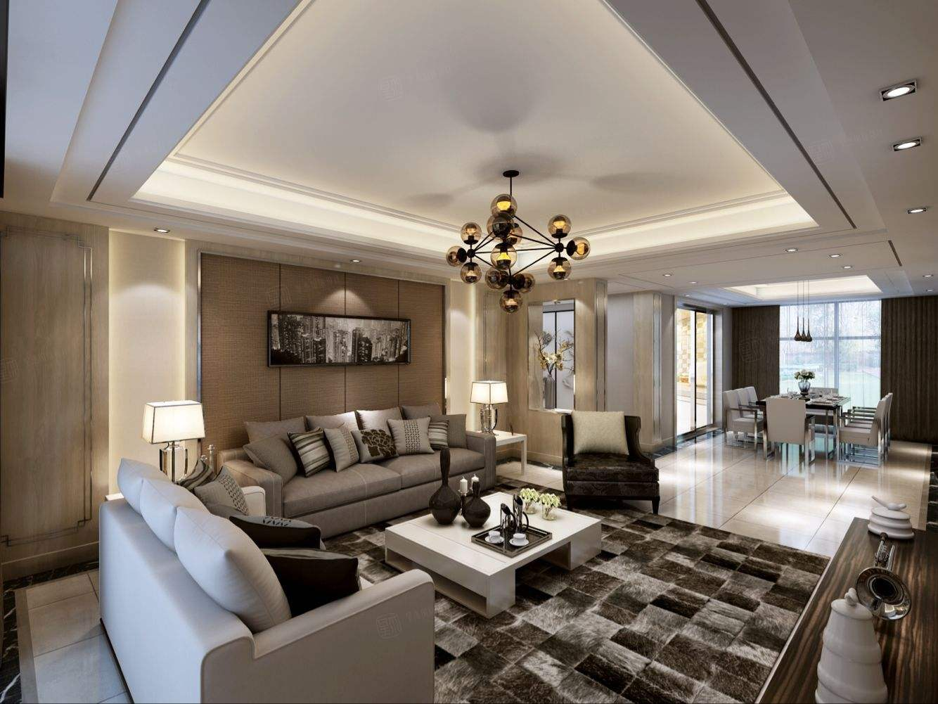 丽都华庭 现代时尚装修客厅效果图