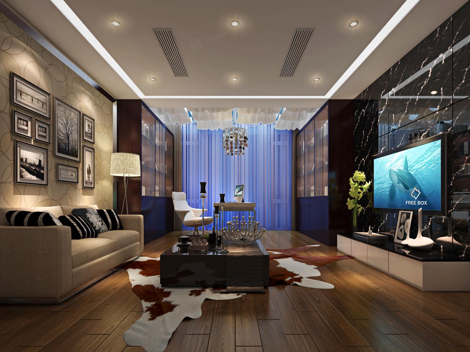 东郊紫园 新中式装修起居室效果图