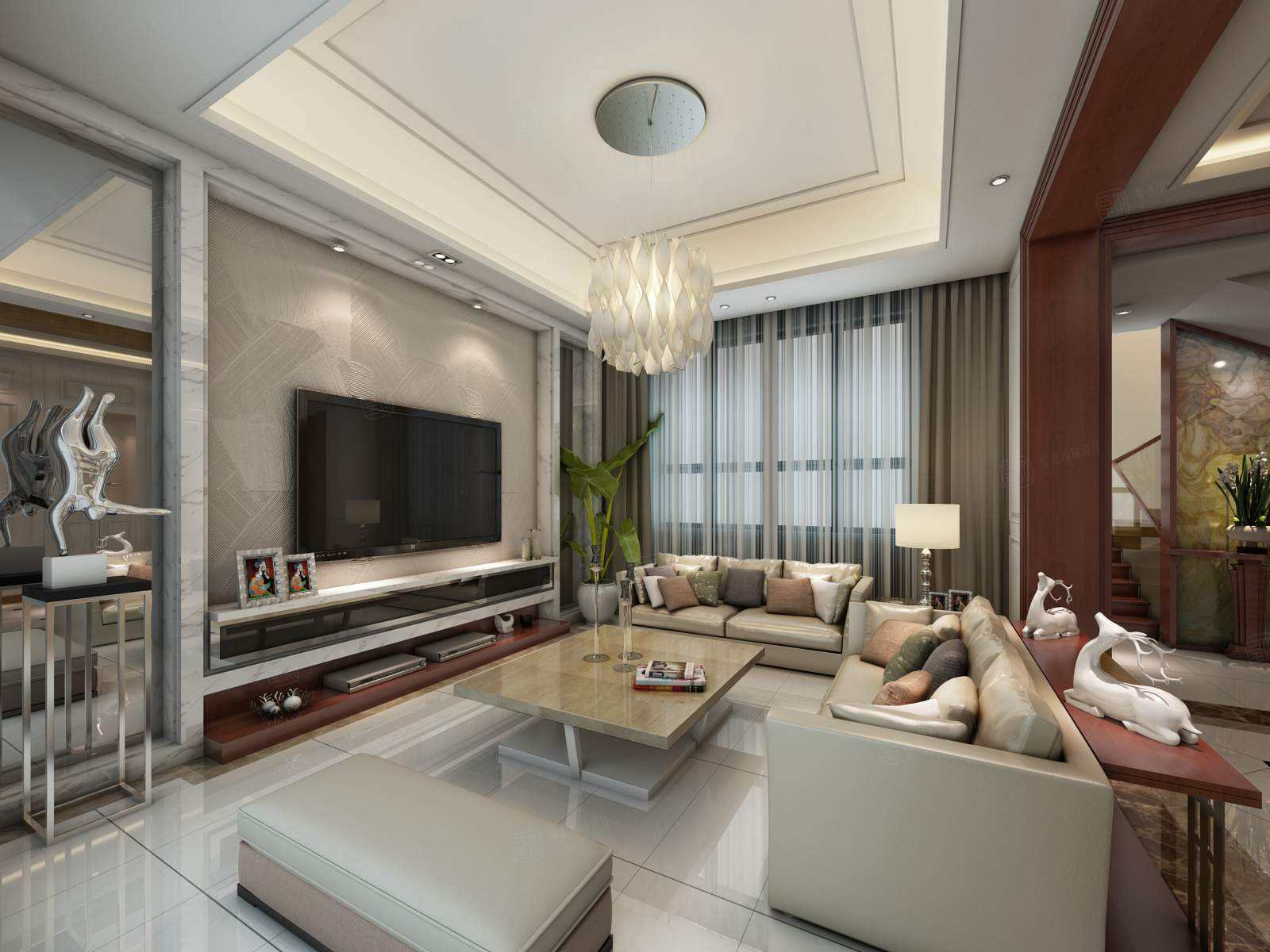 南郊中华园 现代简约装修客厅效果图