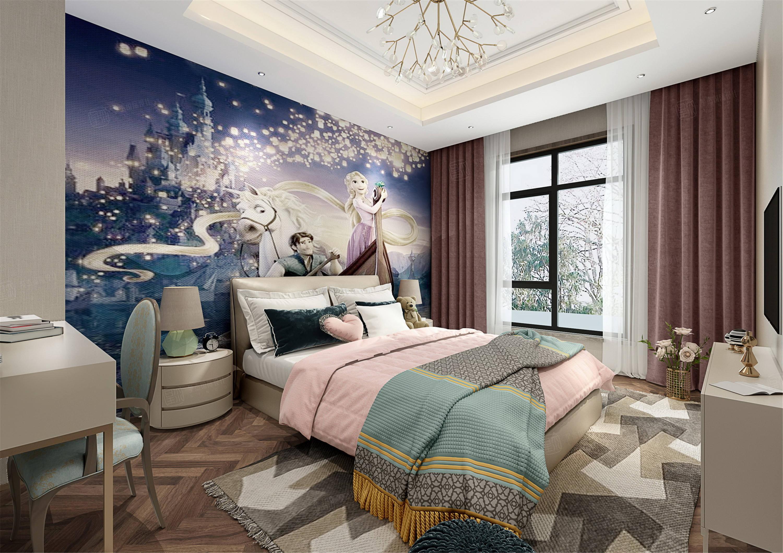颐湾丽庭   新中式装修卧室效果图