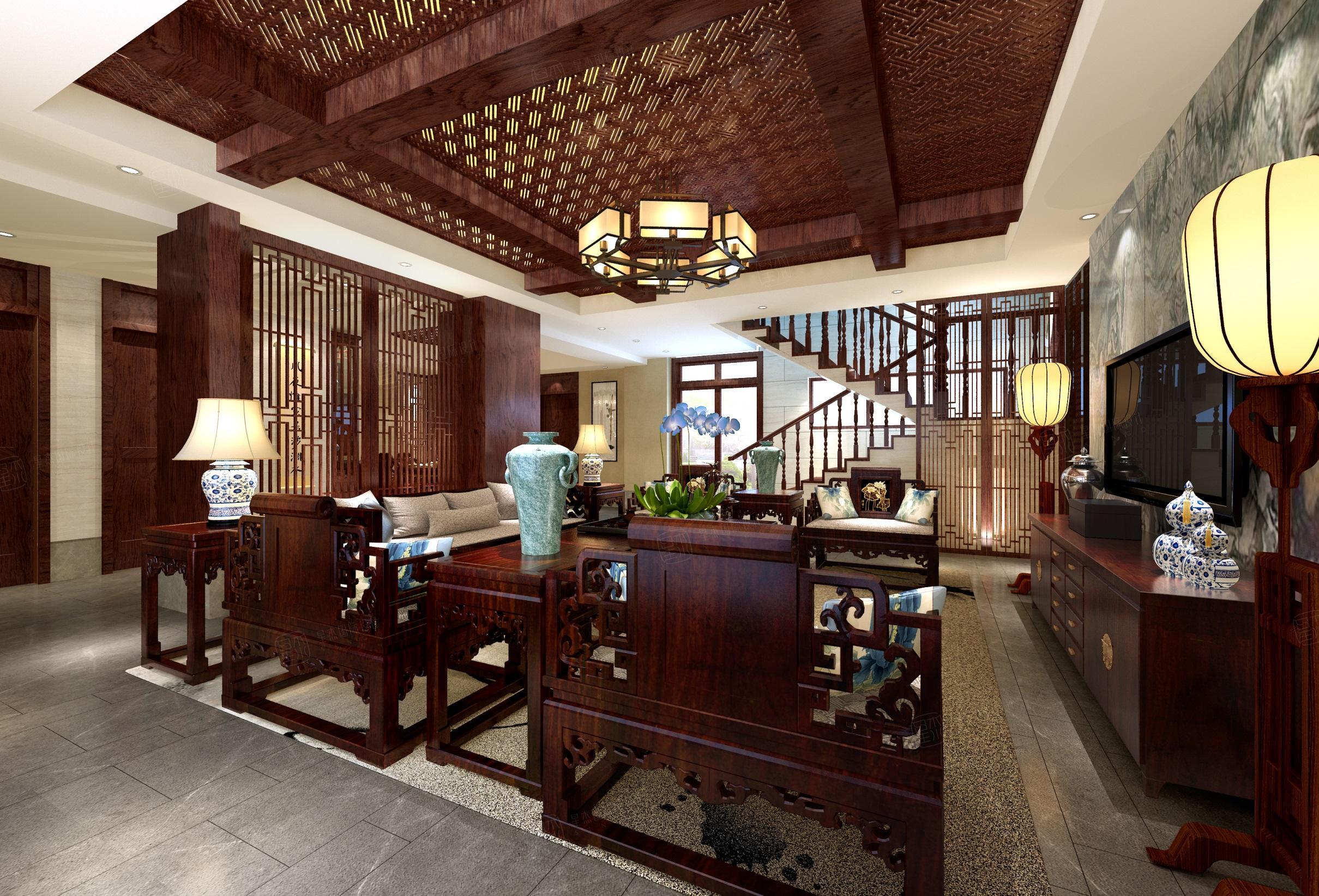 苏州绿城桃花源 中式装修客厅效果图