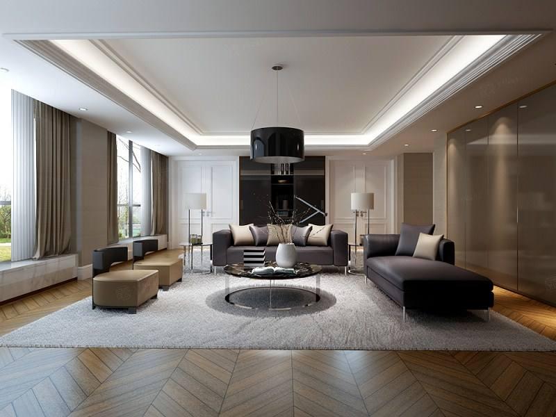 长城中环墅 现代简约装修客厅效果图