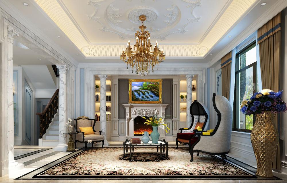 法式风格-依水和墅装修客厅效果图