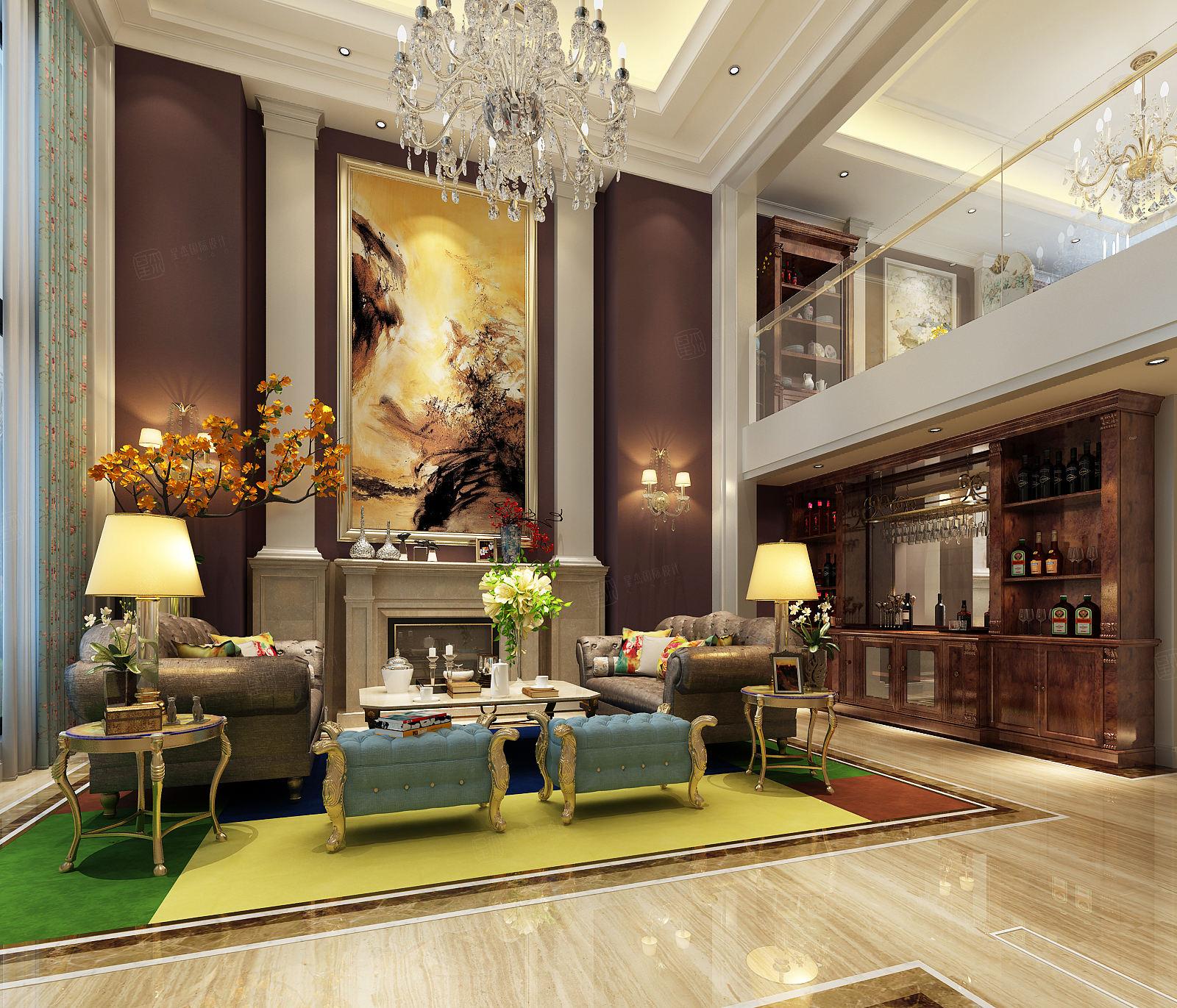 启东上海庄园  混搭装修客厅效果图