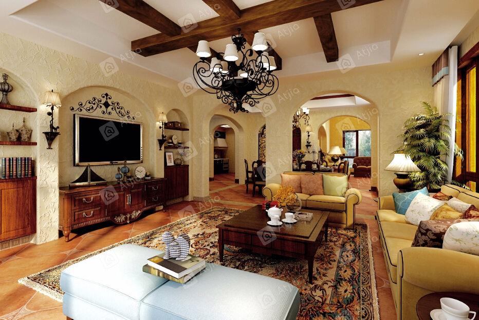 长泰西郊别墅 西班牙装修起居室效果图