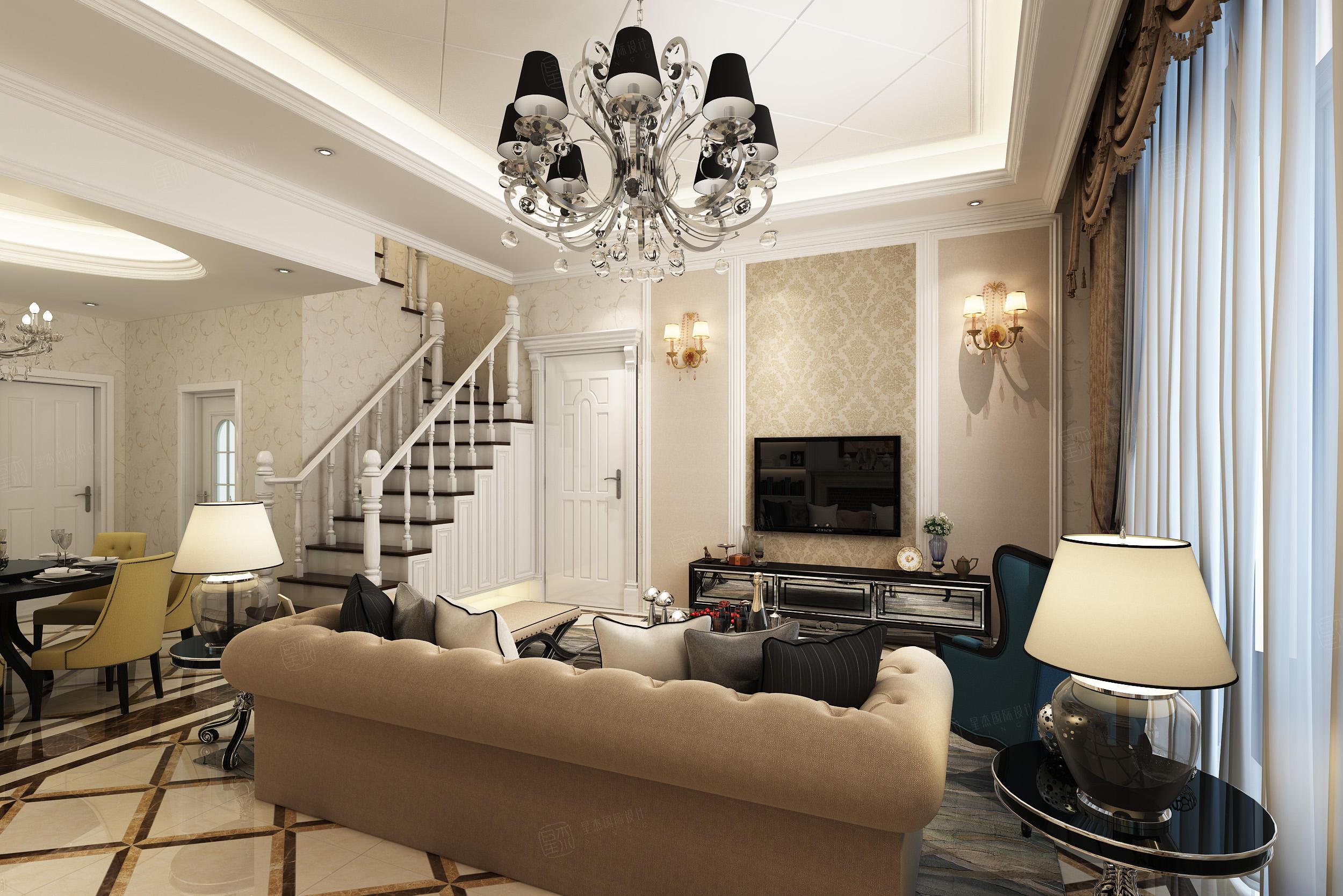 汤臣豪庭 欧式装修客厅效果图