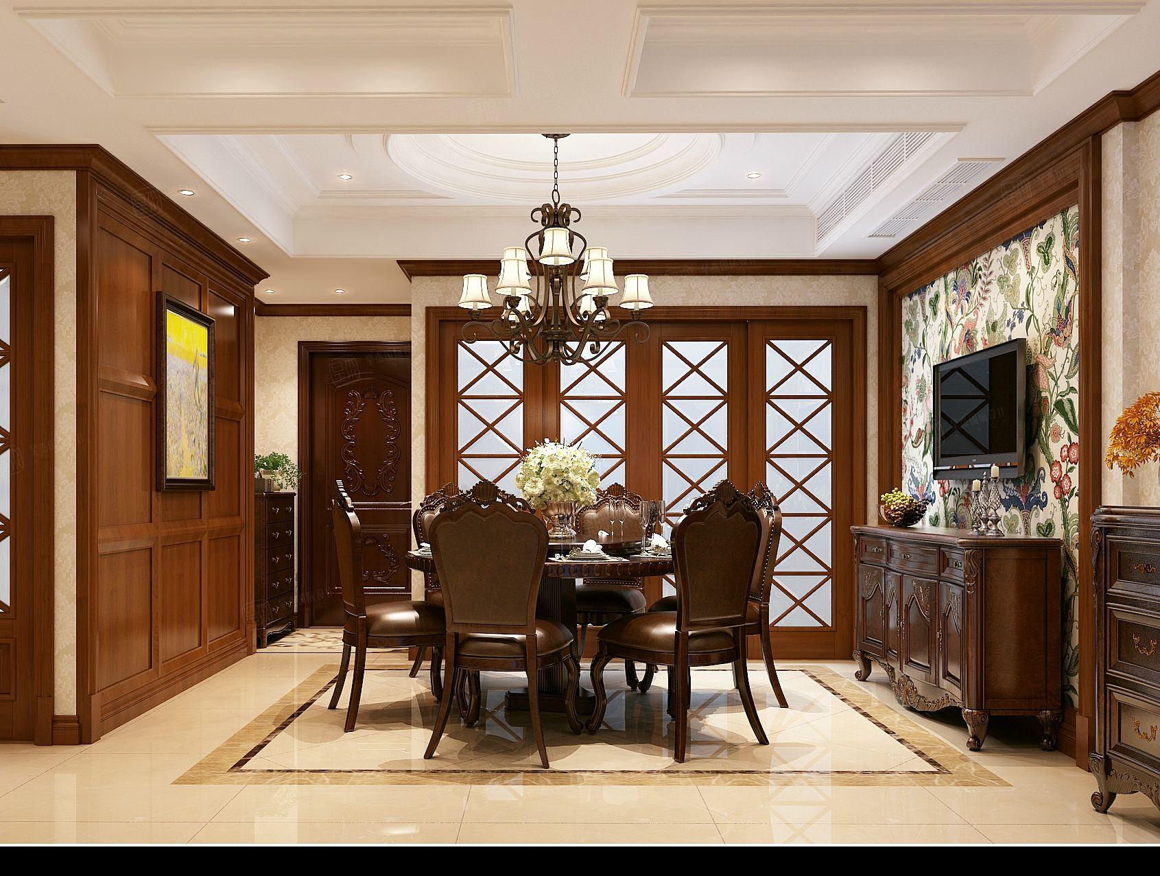 私人别墅 美式装修餐厅效果图