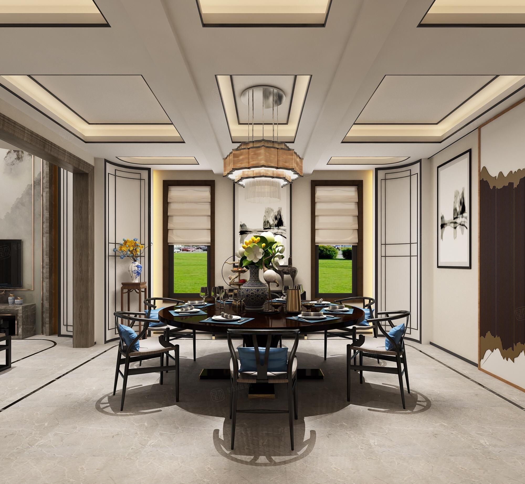 新中式风格-复地温莎堡装修餐厅效果图