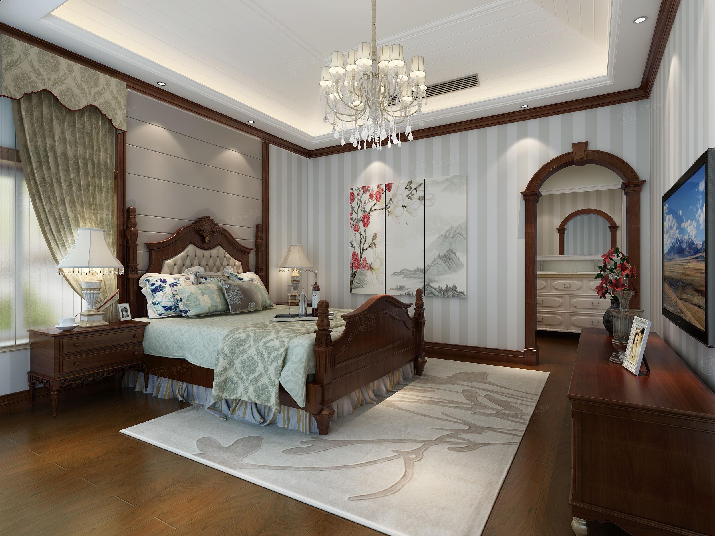 西郊华城 美式装修卧室效果图