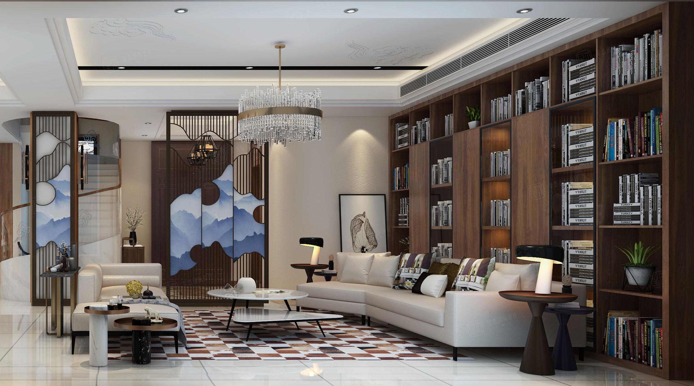 古北佘山国际别墅 新中式装修客厅效果图