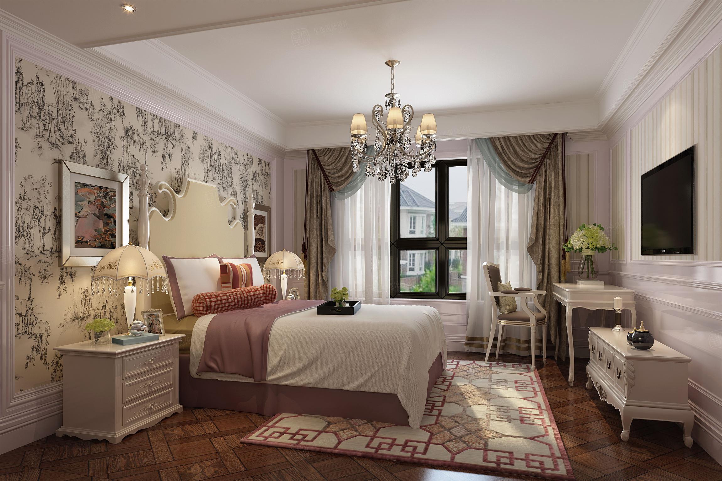泰馨苑 新中式装修床效果图