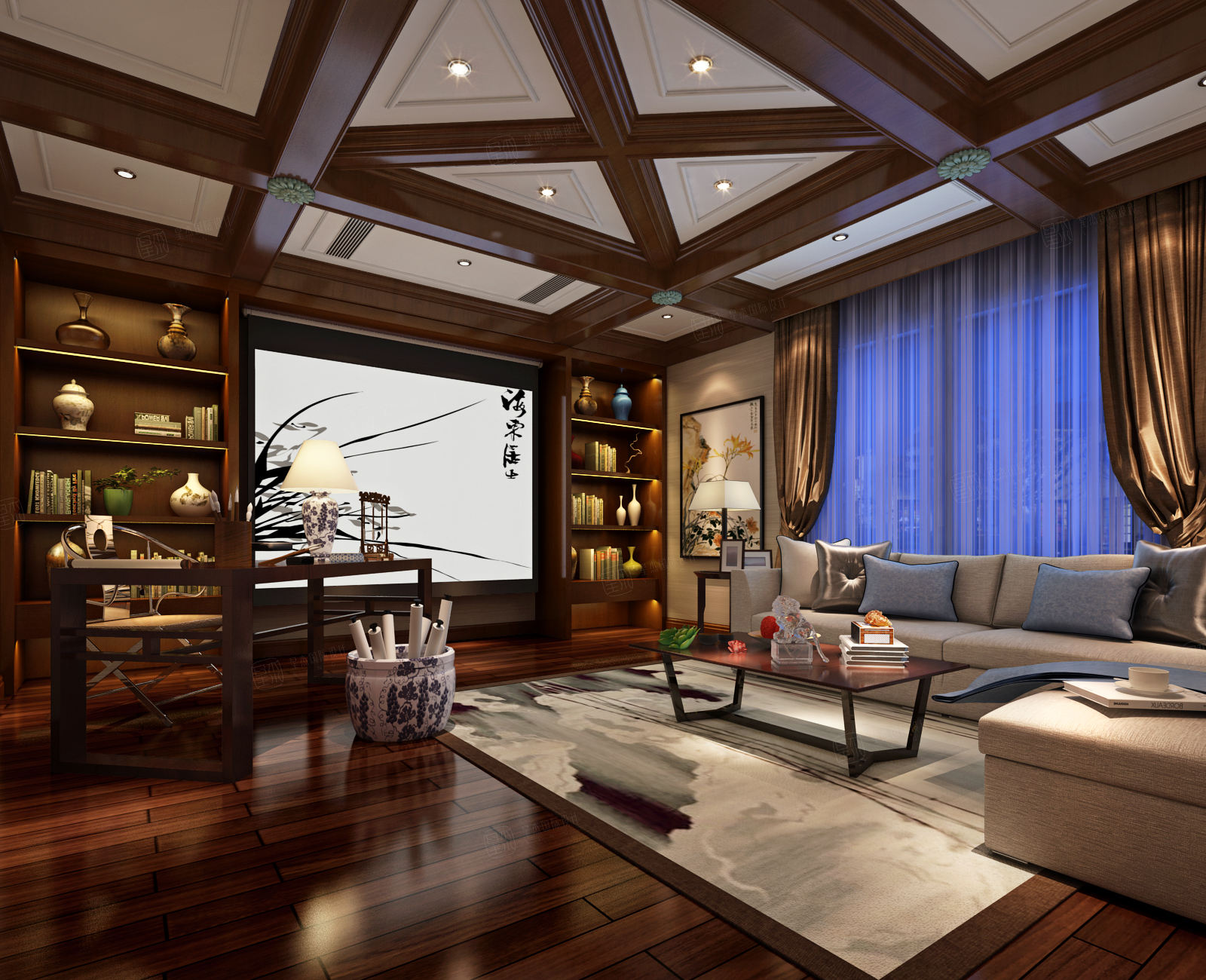东方夏威夷 新中式装修会客厅效果图