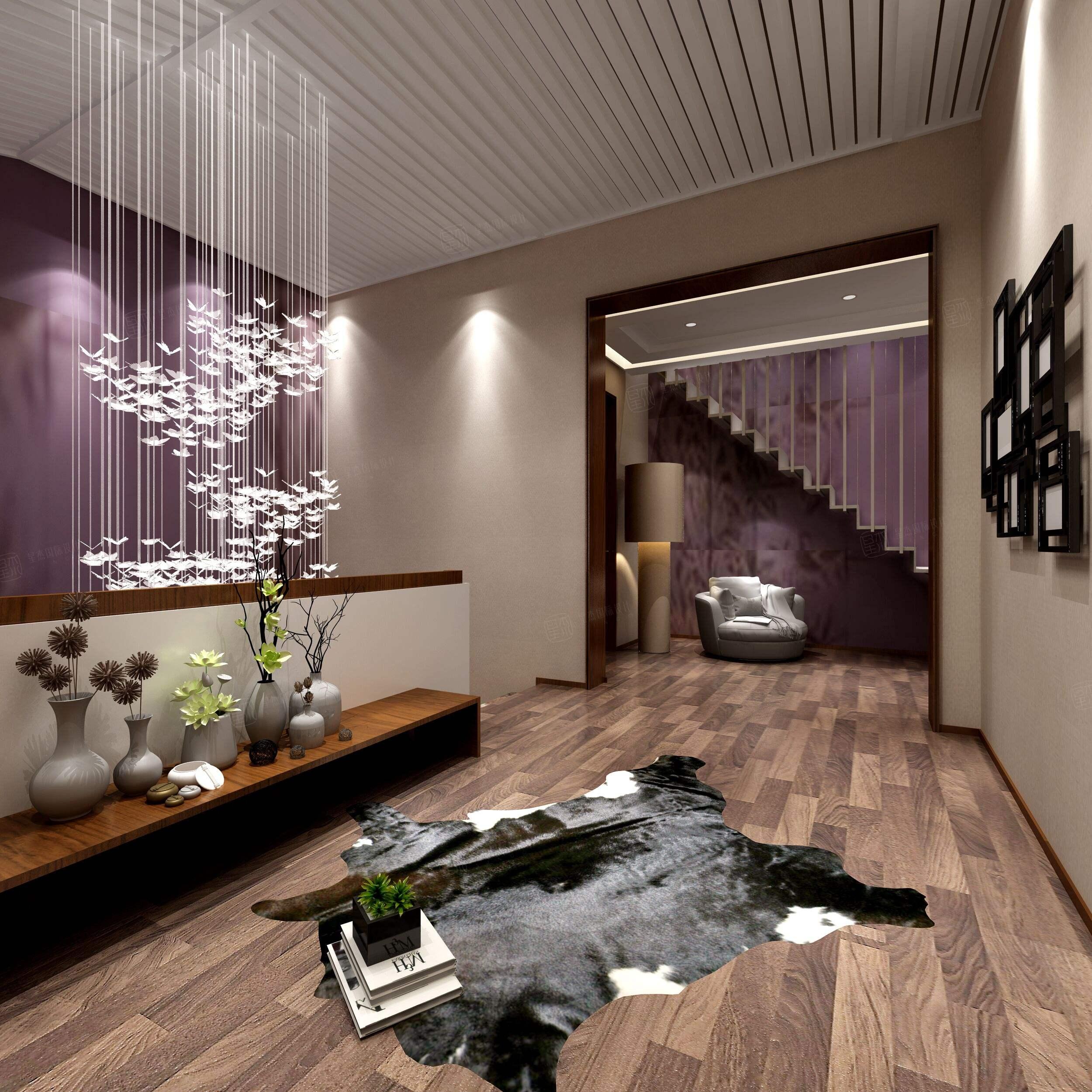 中星红庐 新中式装修起居室效果图