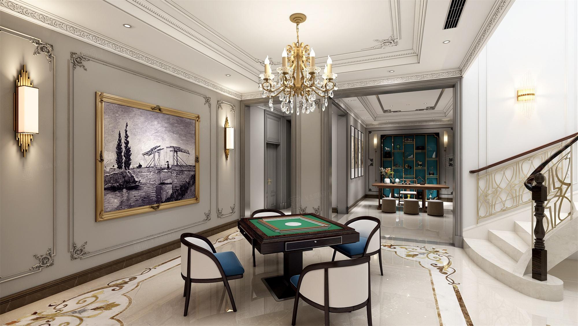六合别墅  法式装修休闲厅效果图
