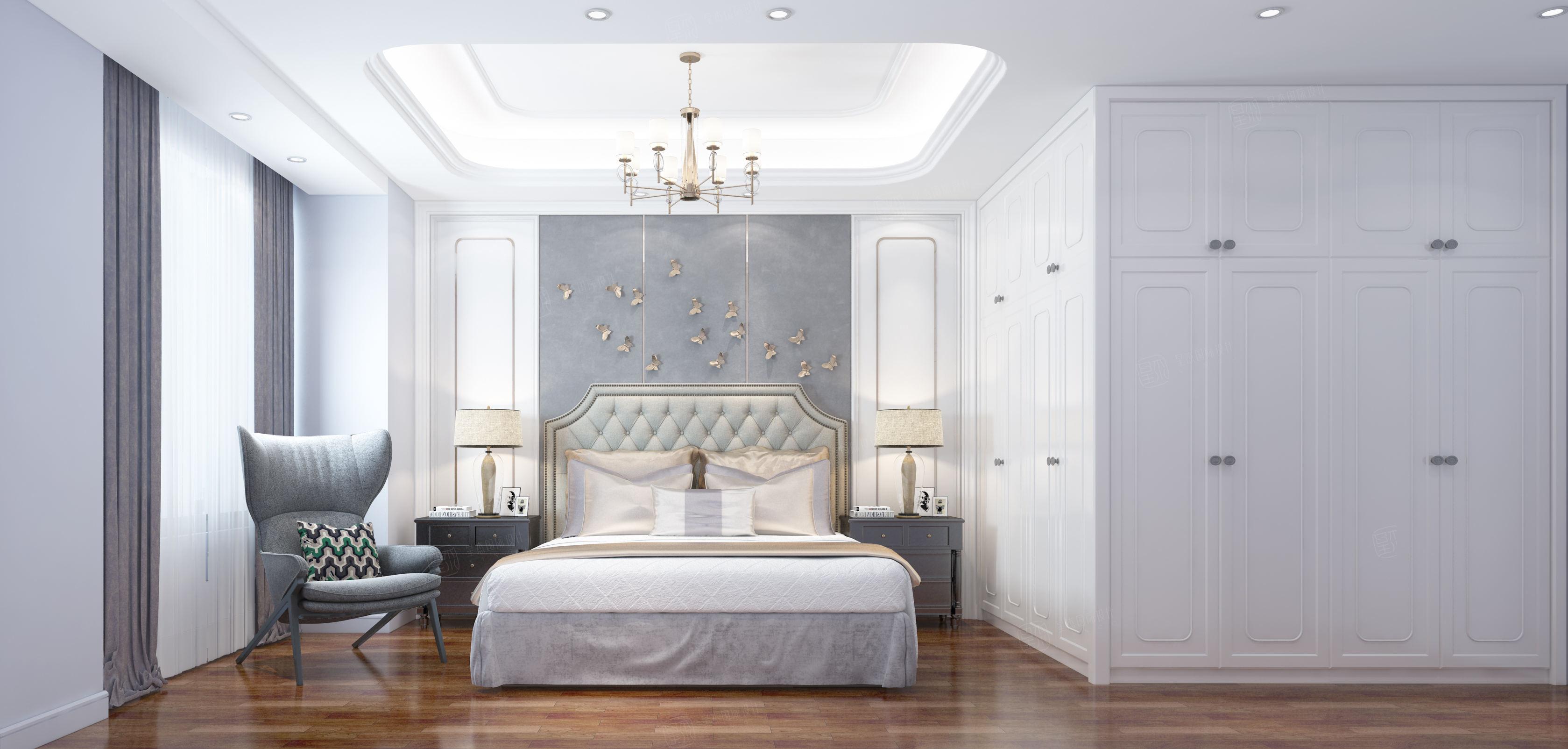 中环国际公寓 奢华欧式装修卧室效果图