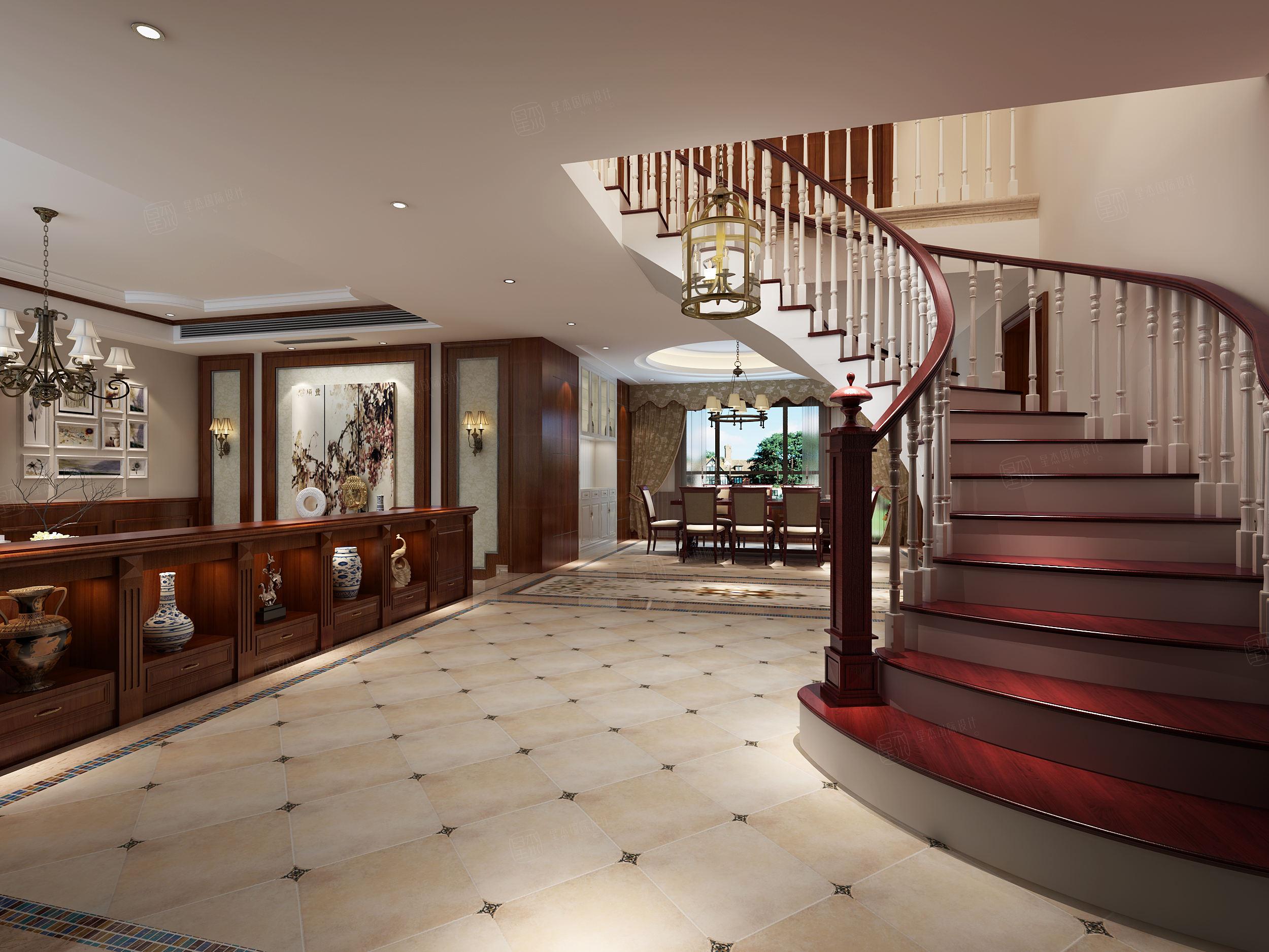 西郊华城 美式装修楼梯效果图