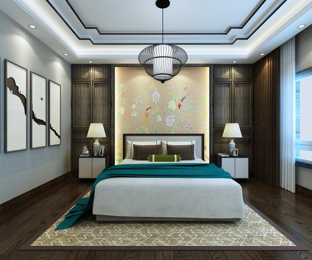新中式风格-融公馆锦御名邸装修卧室效果图