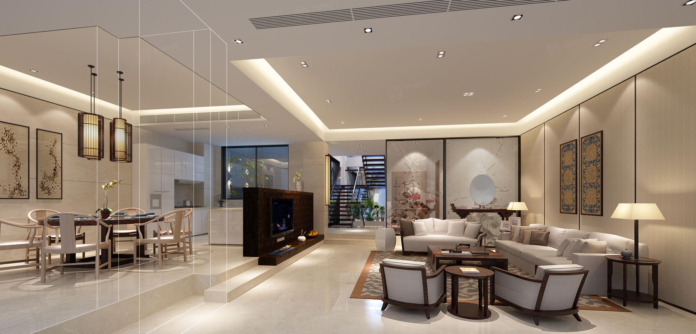 保利茉莉 新中式装修客厅效果图