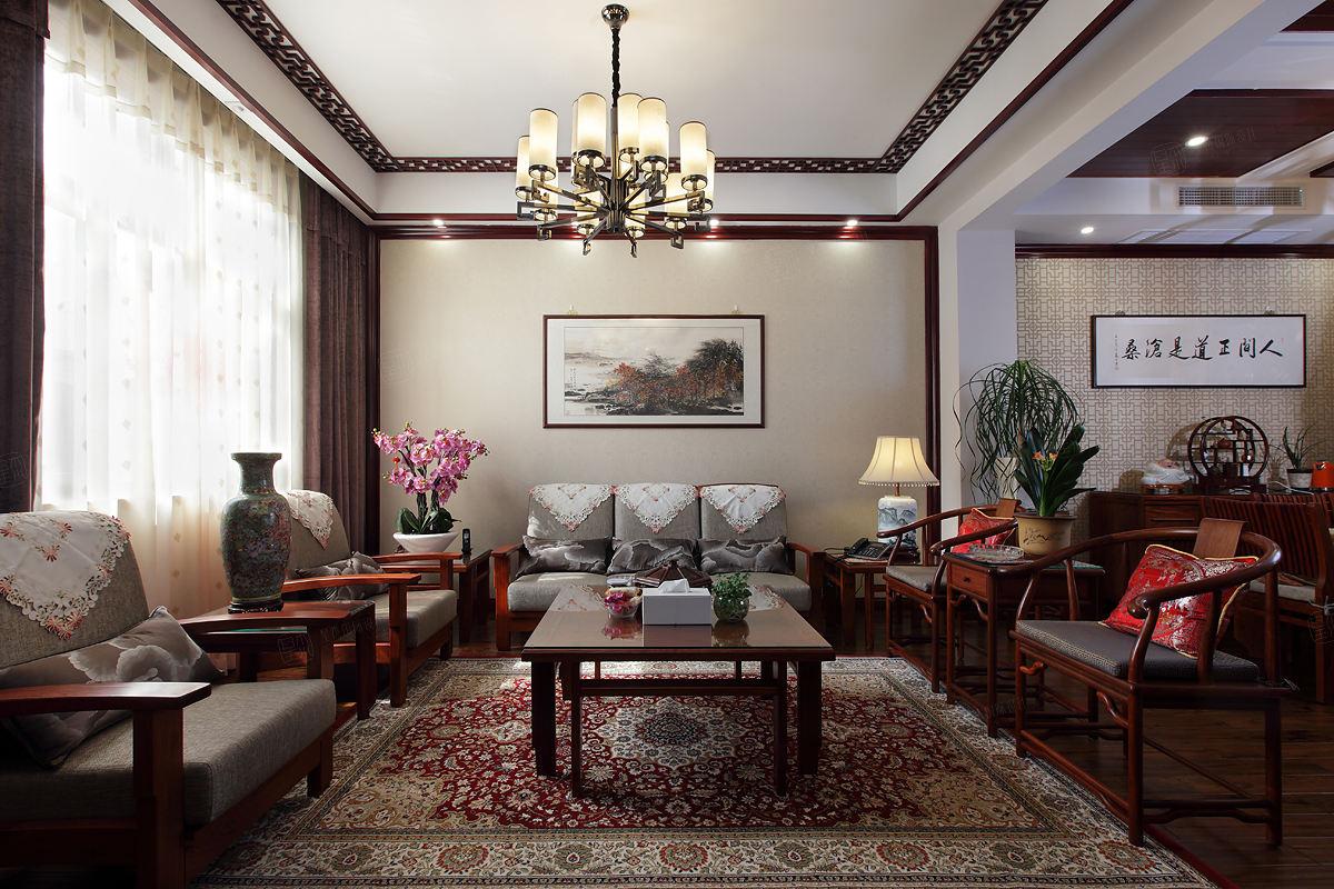 中景水岸 中式装修客厅效果图