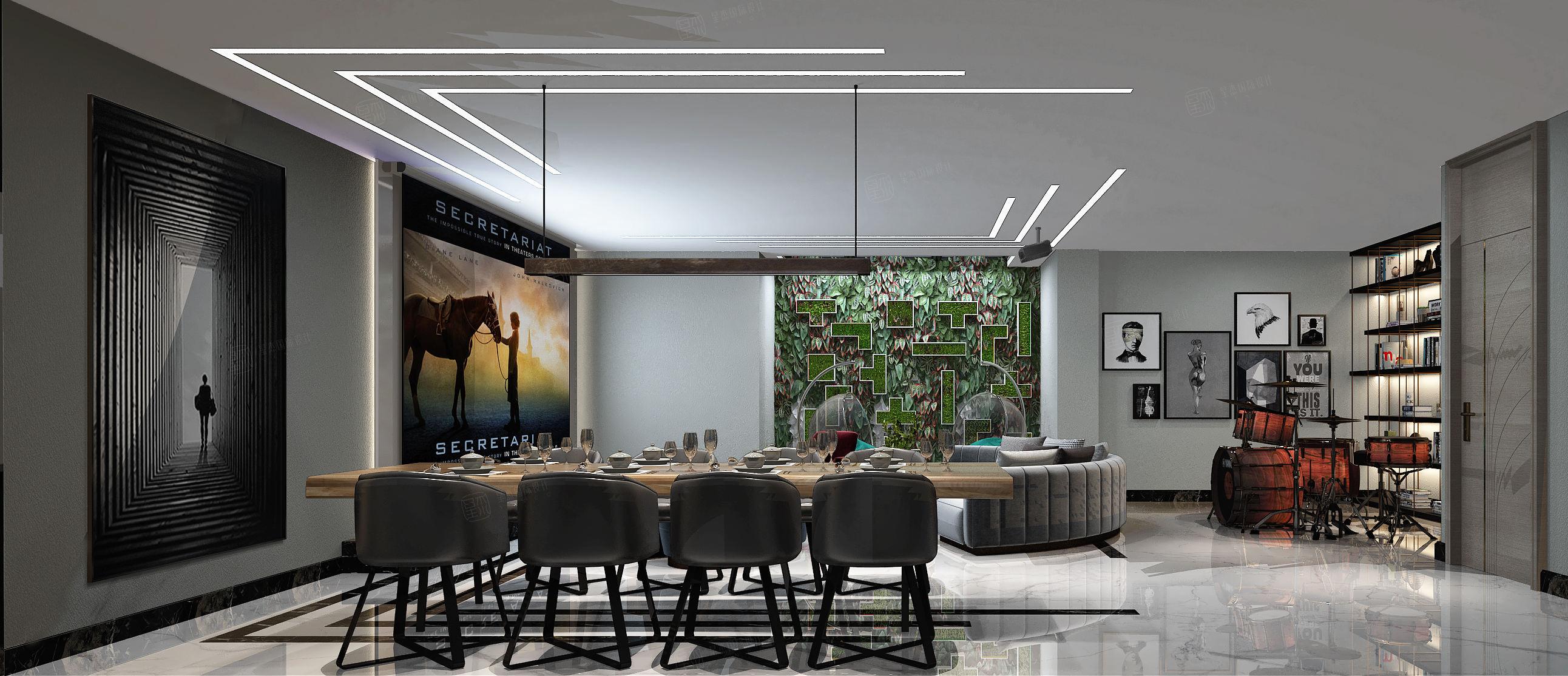 新弘墅园  现代轻奢装修餐厅效果图