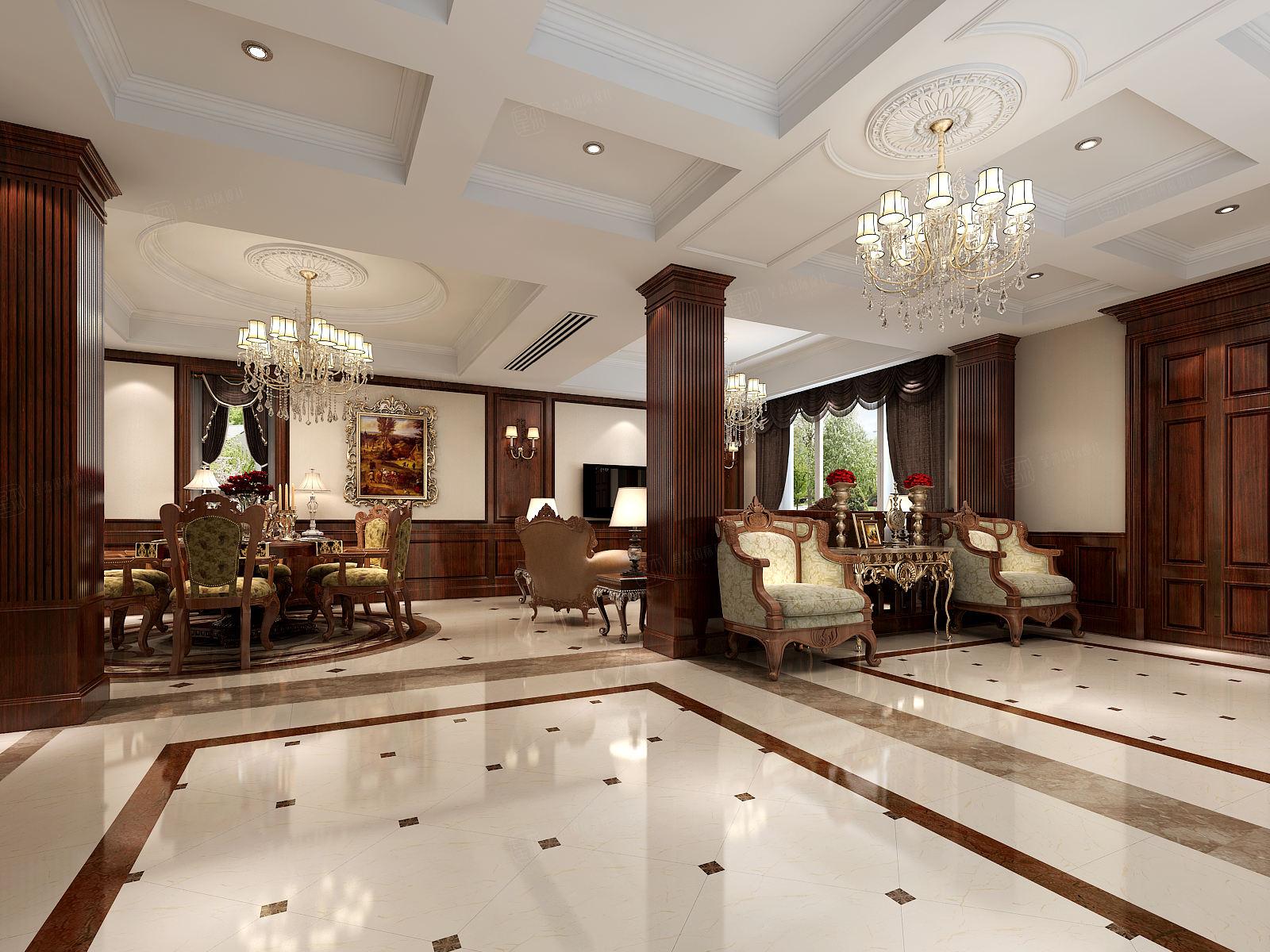 万红苑 美式装修客厅效果图