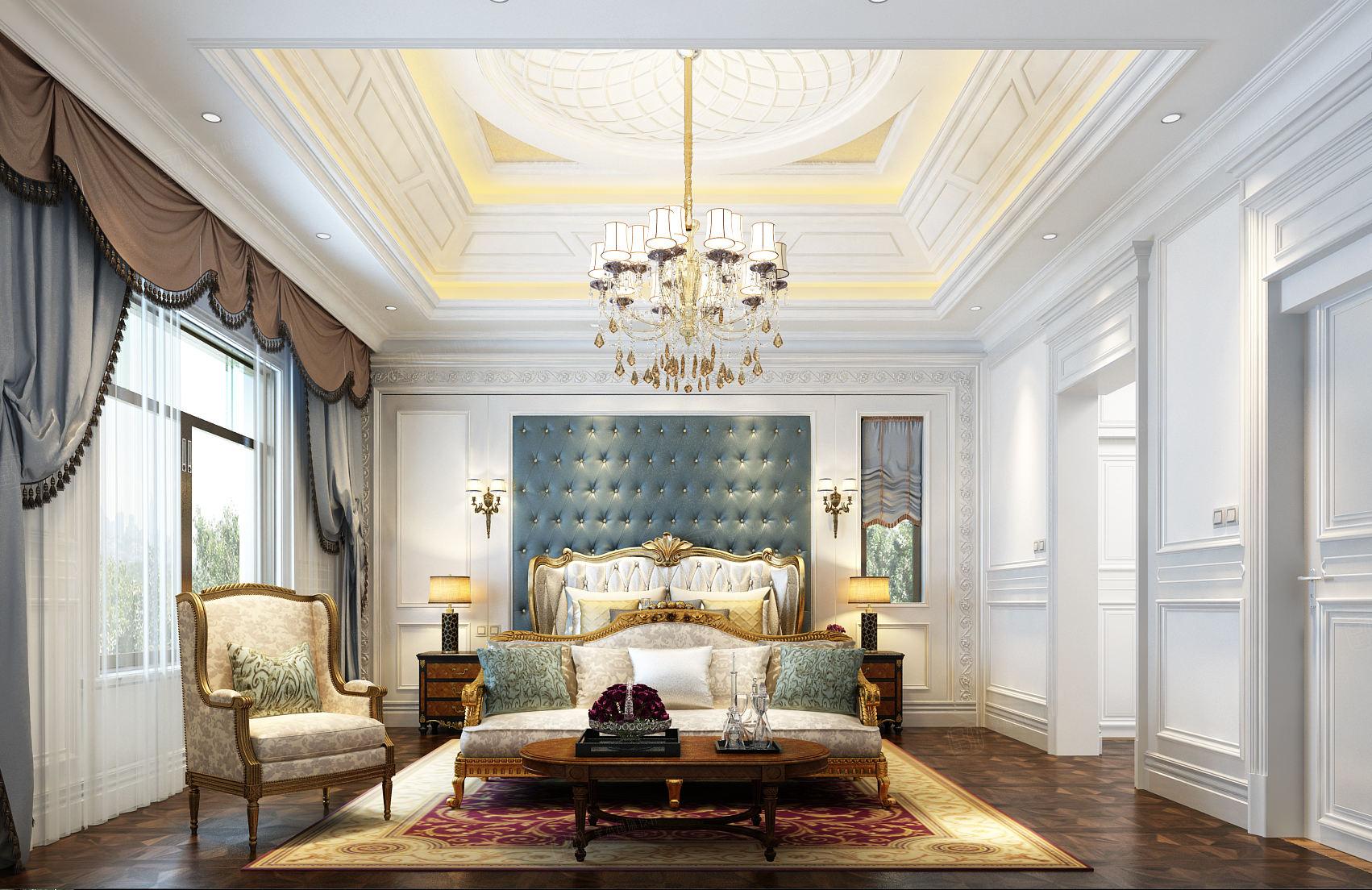 法式风格-依水和墅装修卧室效果图
