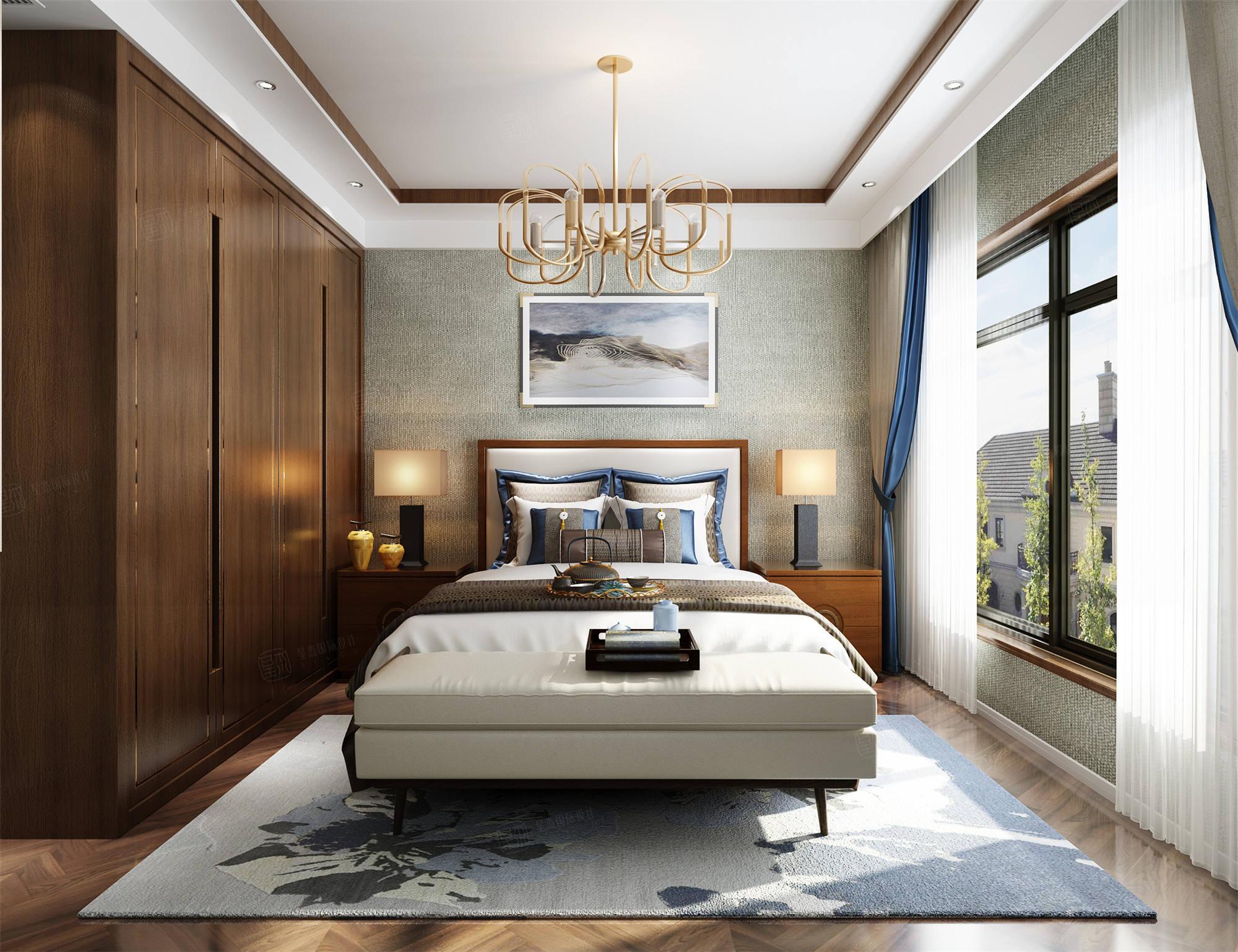 西郊宝成  新中式装修卧室效果图